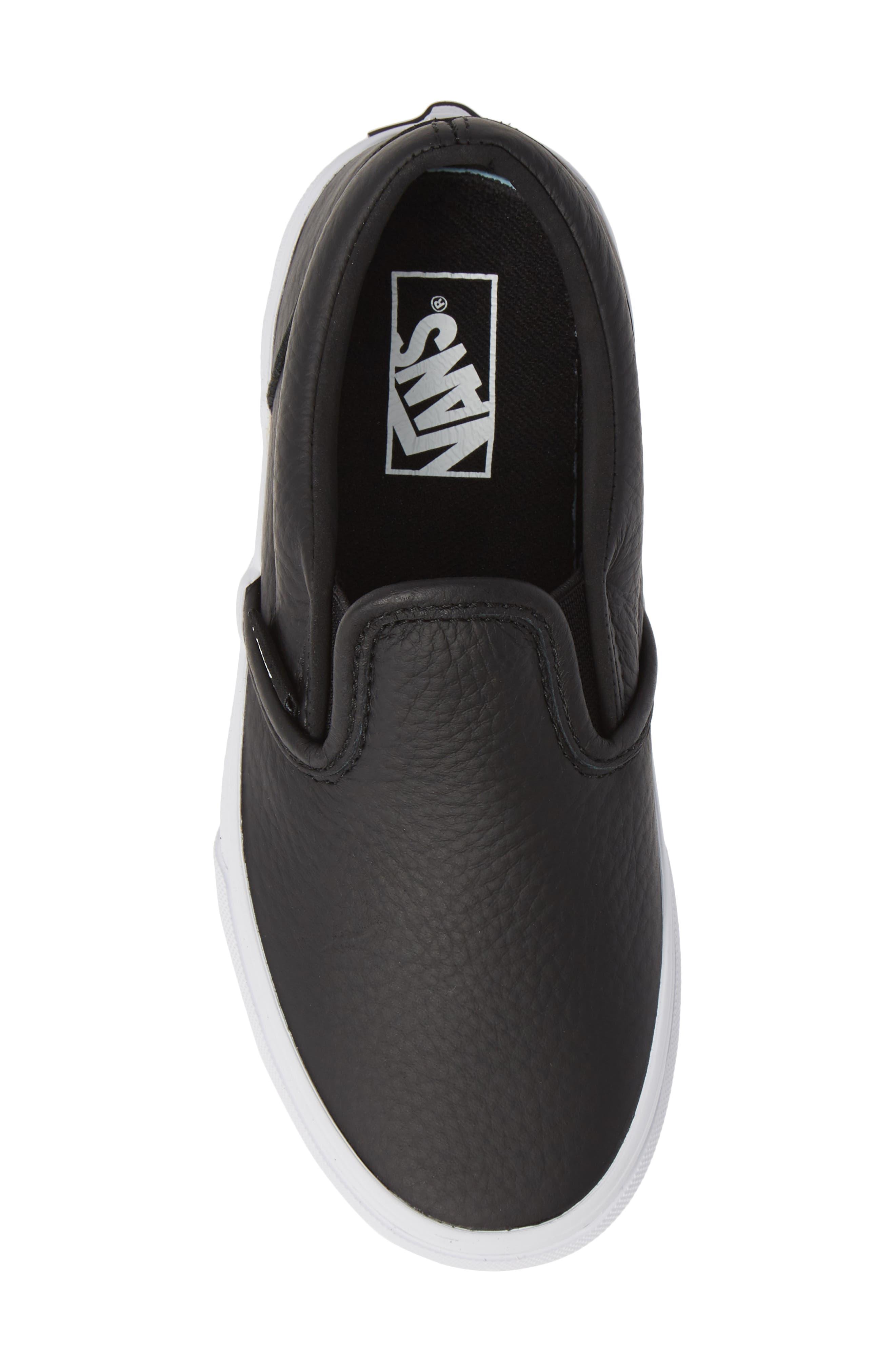 'Classic' Slip-On Sneaker,                             Alternate thumbnail 5, color,                             BLACK/ TRUE WHITE LEATHER