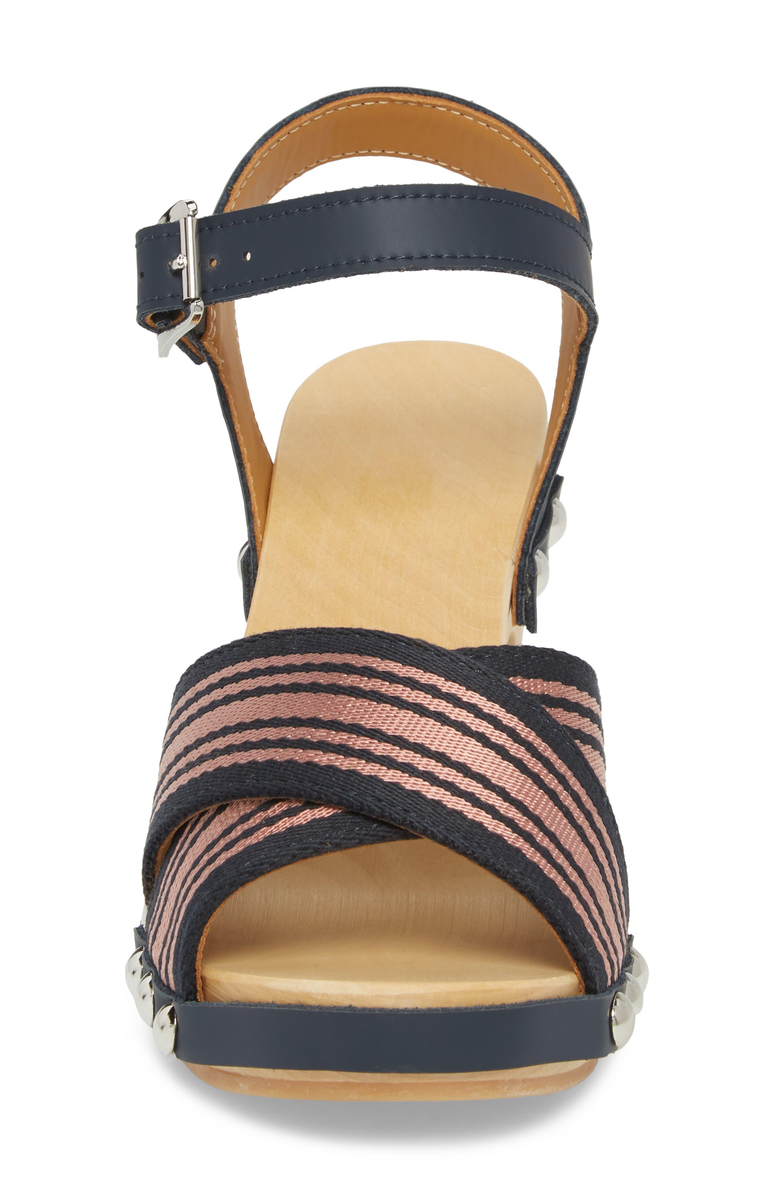 Crisscross Sandal,                             Alternate thumbnail 4, color,                             NAVY/ PALE ROSE