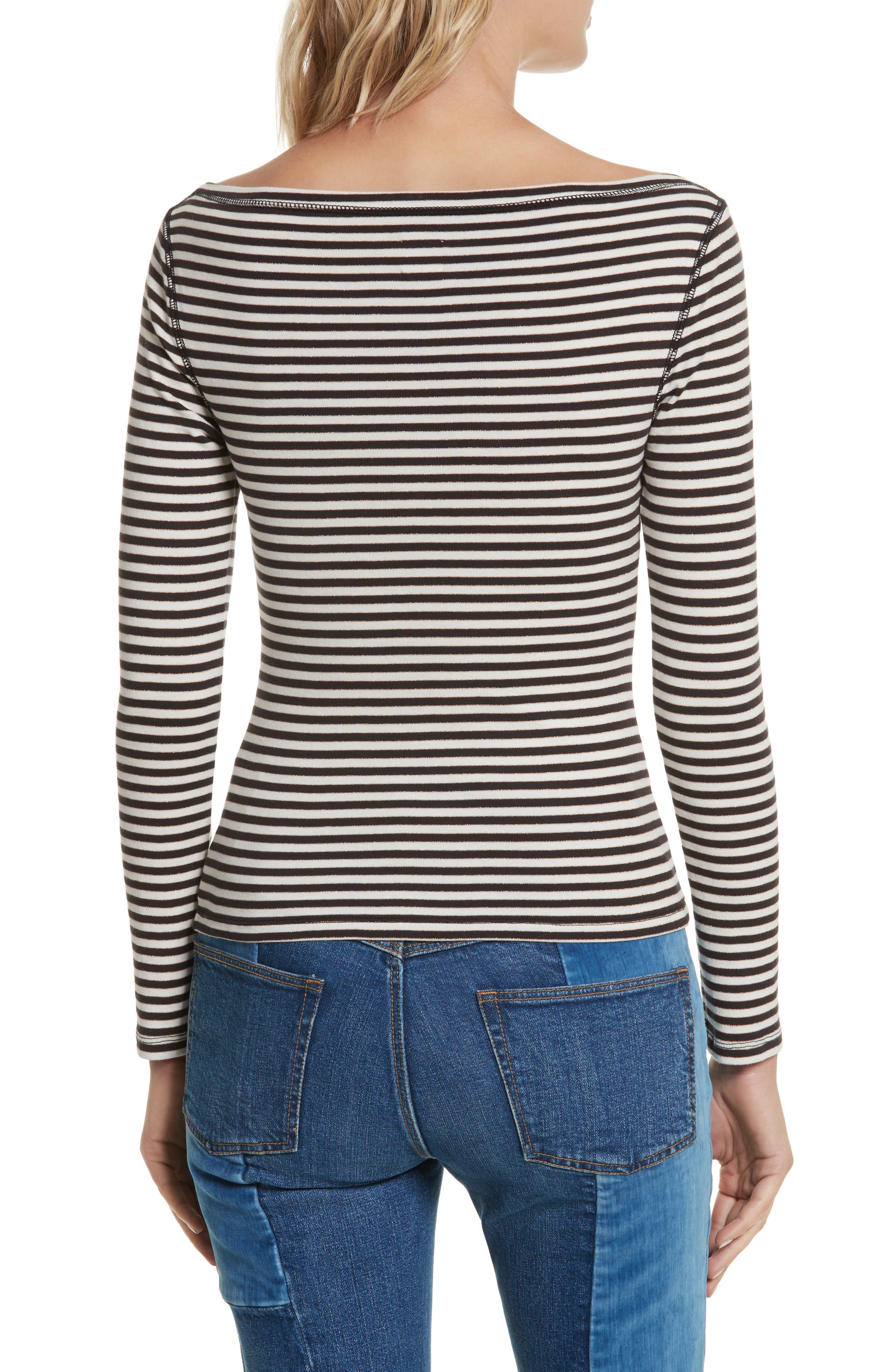Stripe Metallic Jersey Top,                             Alternate thumbnail 2, color,                             497