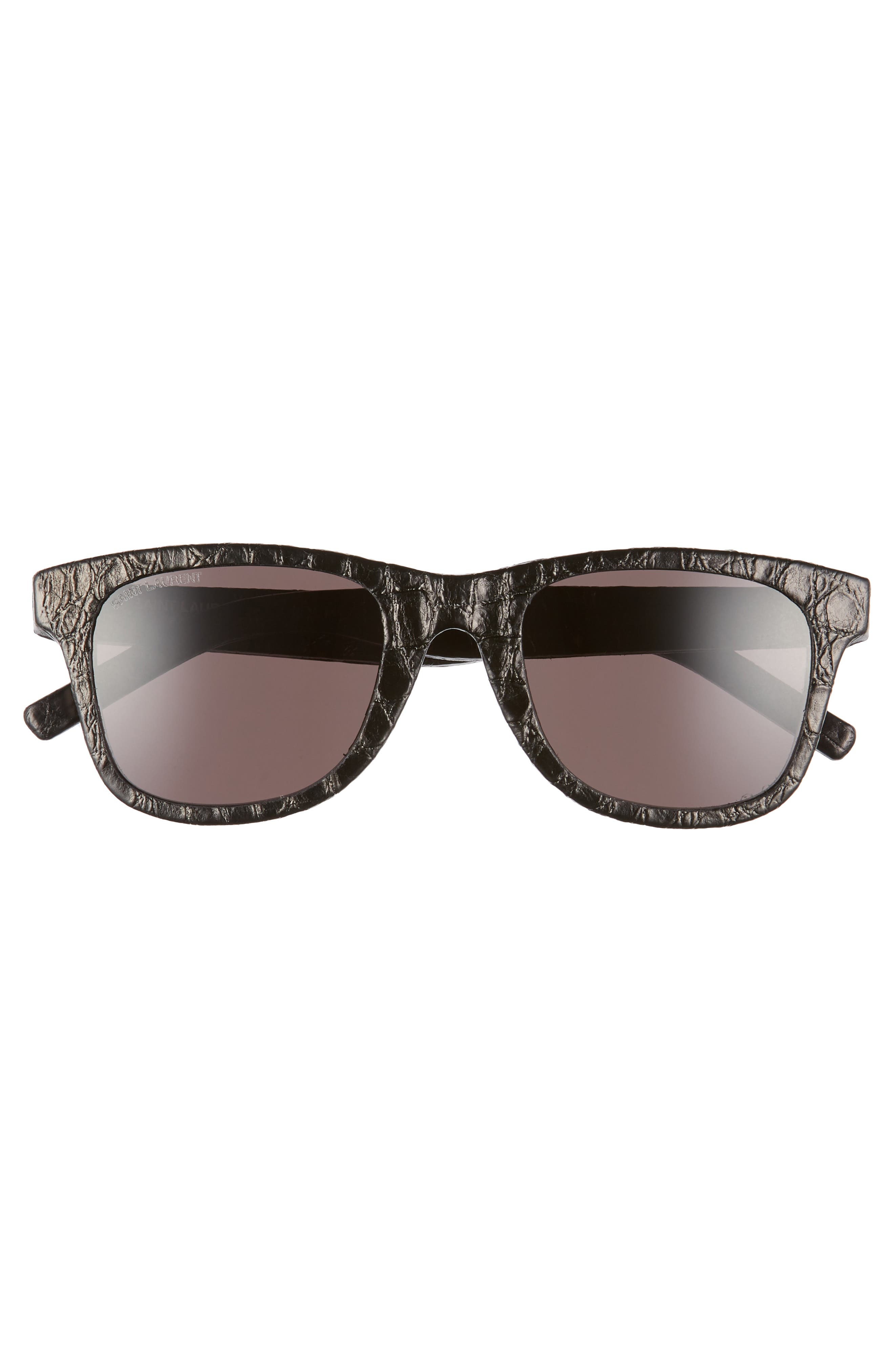 50mm Leather Wrapped Flat Top Sunglasses,                             Alternate thumbnail 3, color,                             BLACK CROCO/ GREY