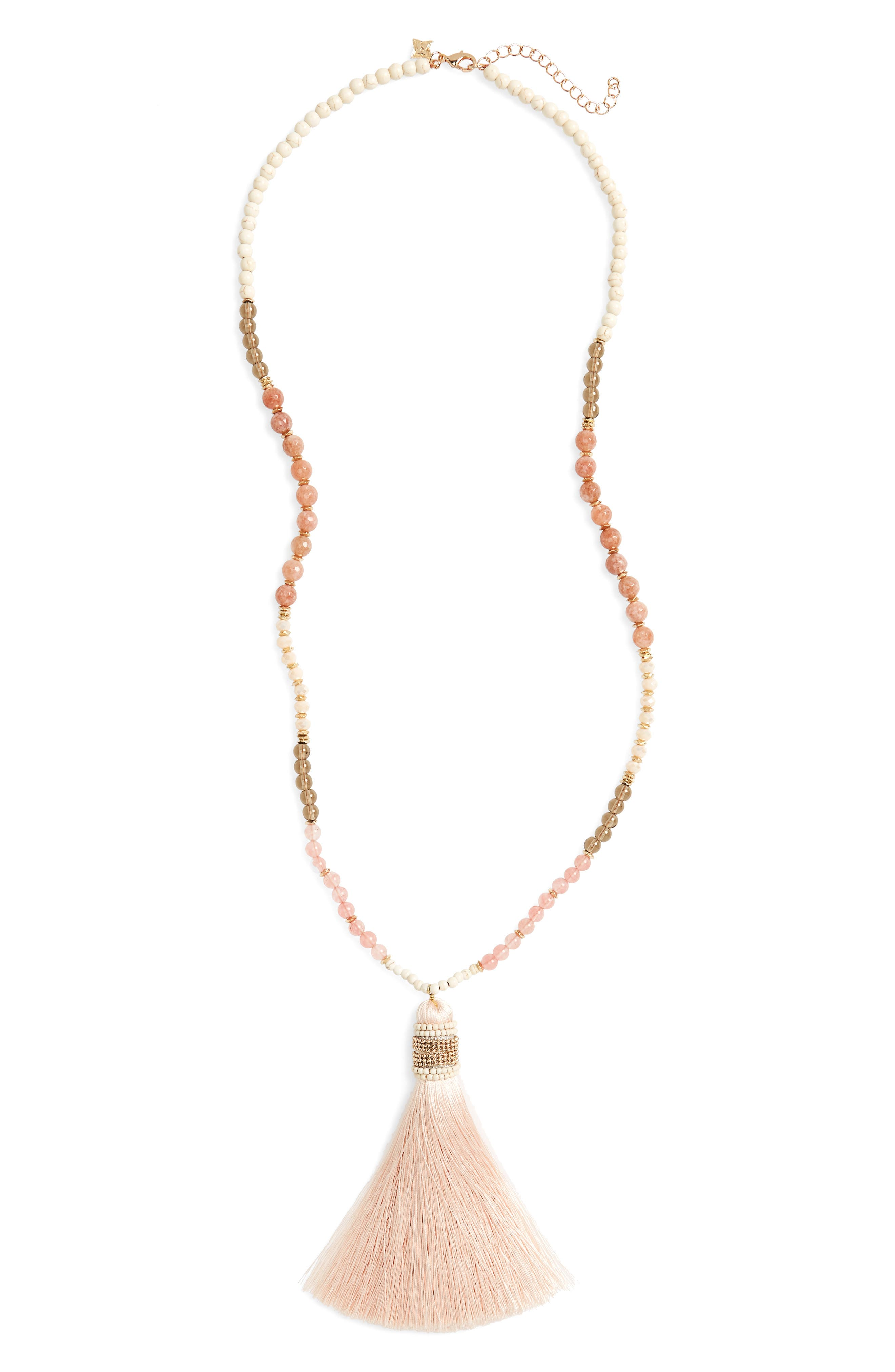 Stone Tassel Necklace,                         Main,                         color, 100