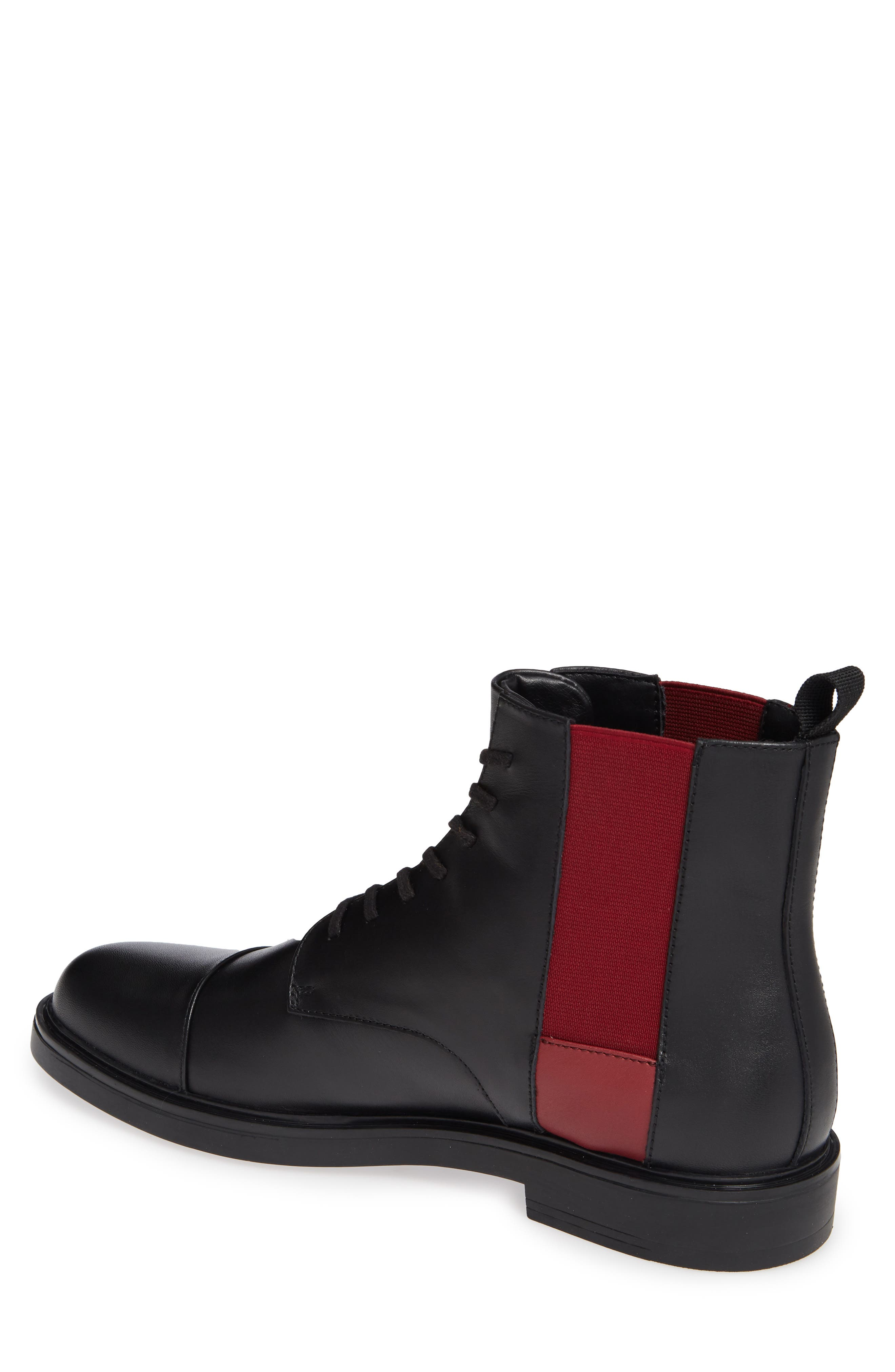 Dameon Lace-Up Boot,                             Alternate thumbnail 2, color,                             BLACK/ RED ROCK LEATHER