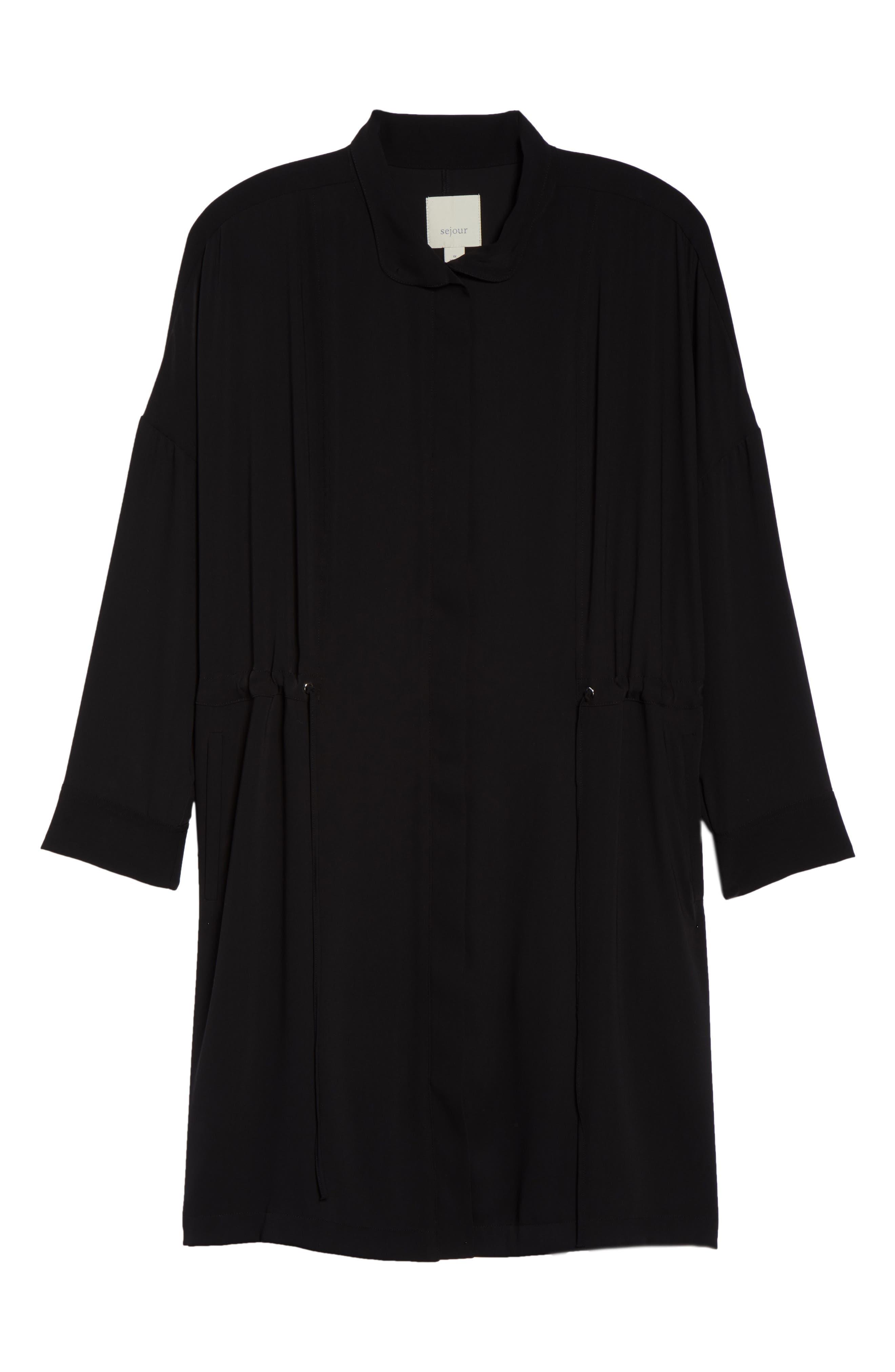 Dolman Sleeve Tie Waist Jacket,                             Alternate thumbnail 5, color,                             001