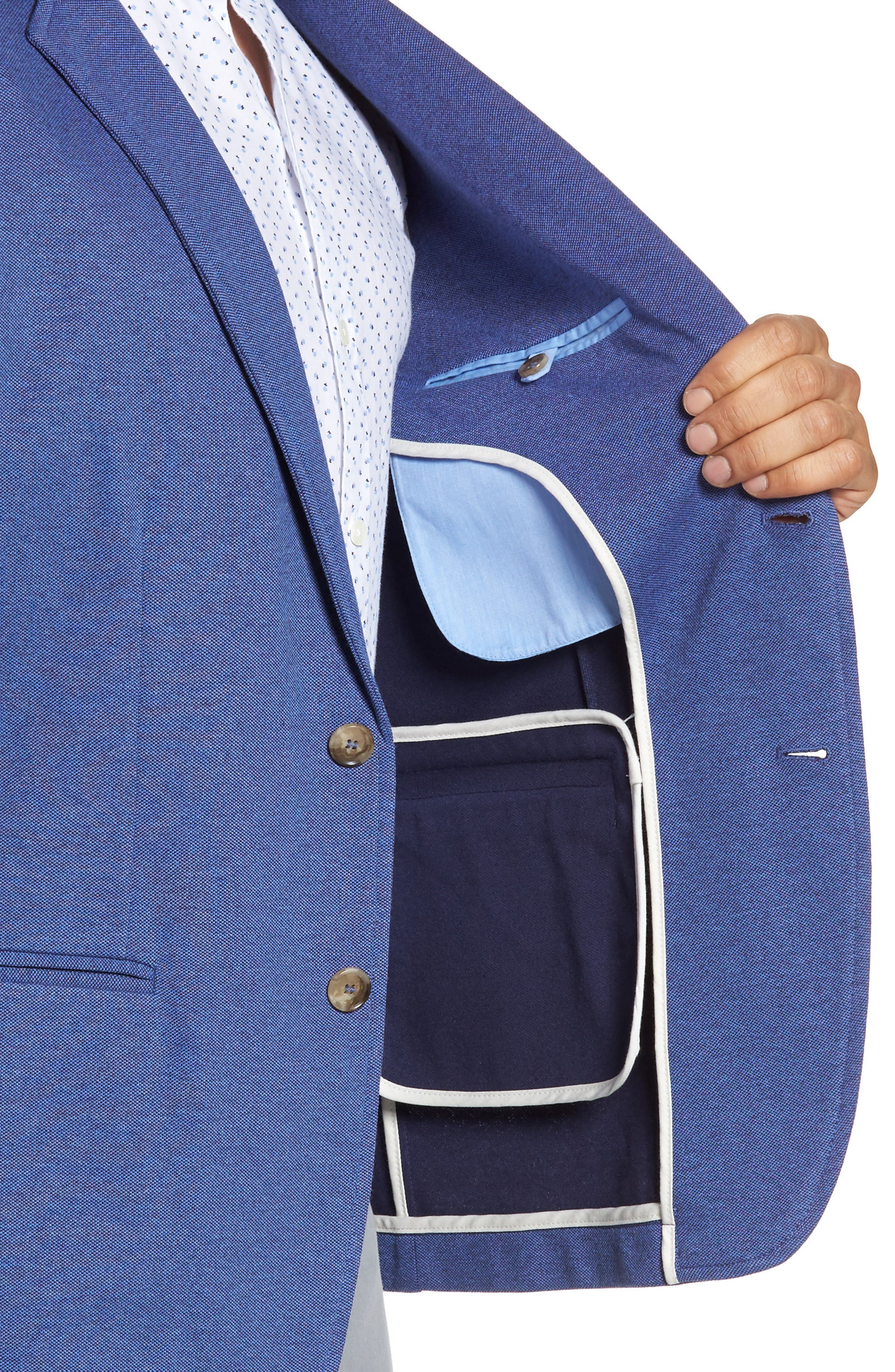 Two-Button Knit Sport Coat,                             Alternate thumbnail 4, color,                             BLUE