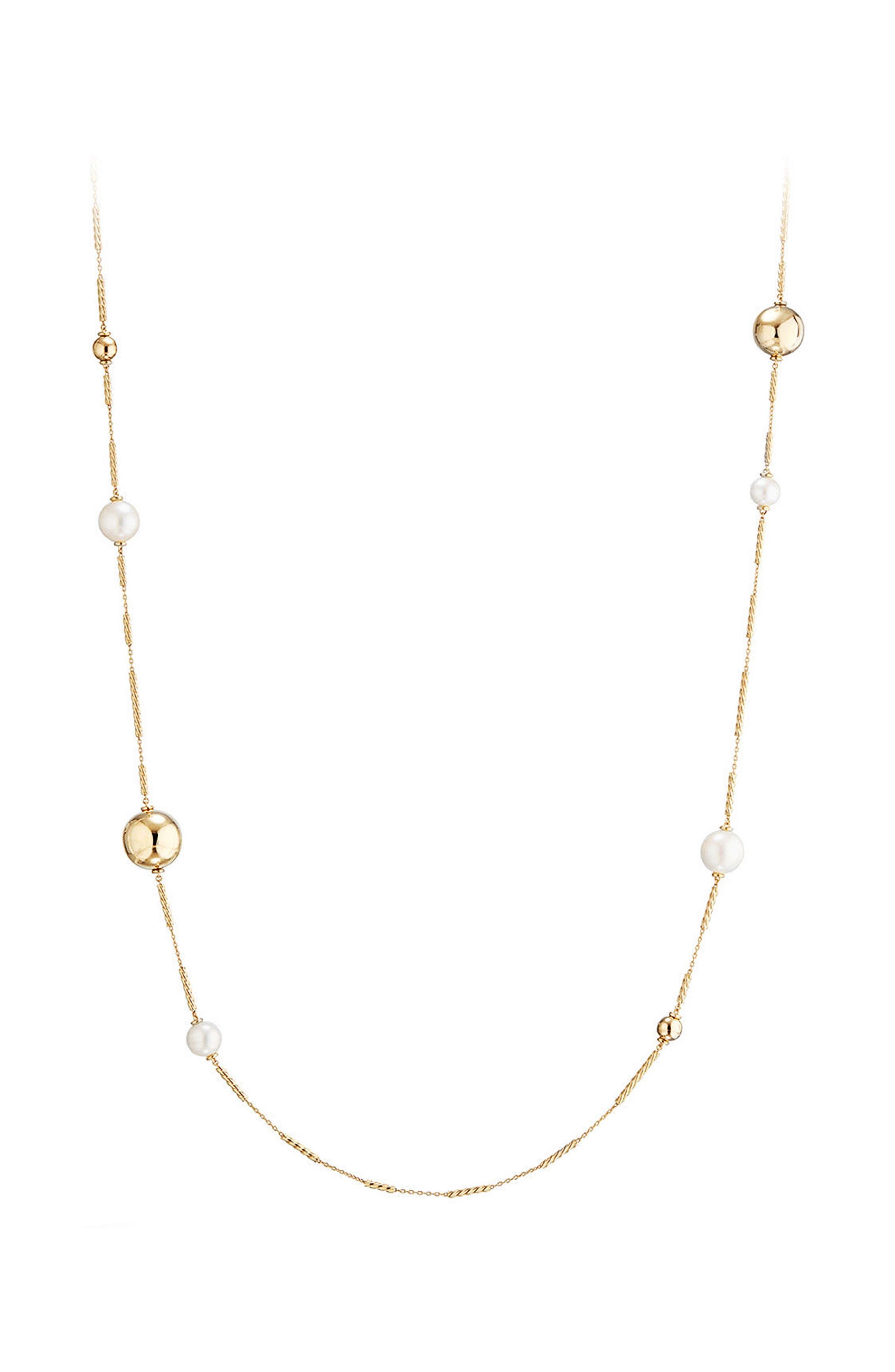 Solari Long Station Necklace with Pearls in 18K Gold,                             Main thumbnail 1, color,                             PEARL