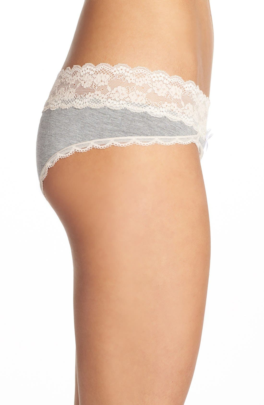 Ahna Hipster Panties,                             Alternate thumbnail 4, color,                             HEATHER GREY/ SEASHELL