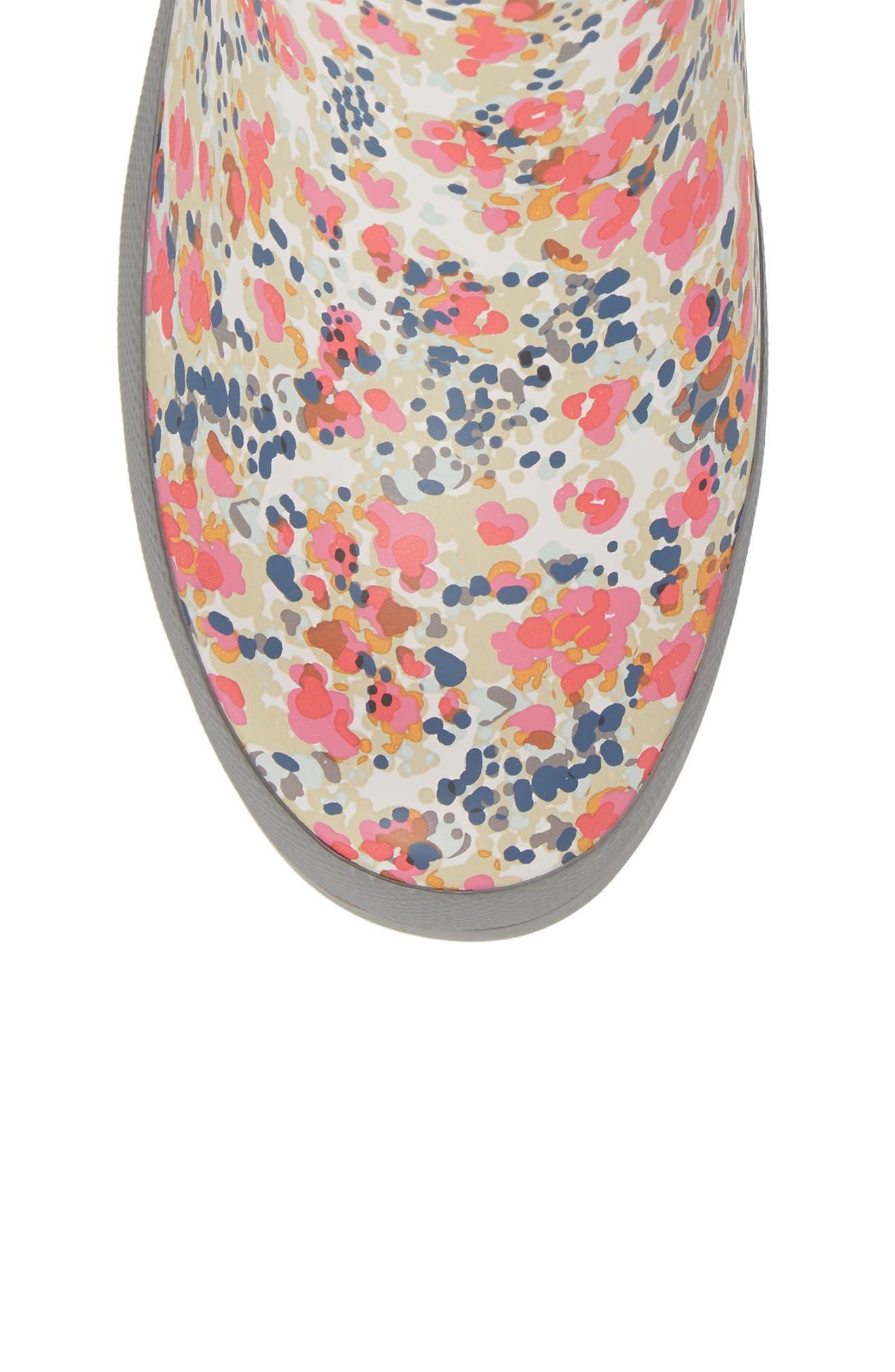 Julia Floral Waterproof Rain Boot,                             Alternate thumbnail 5, color,                             GRAY