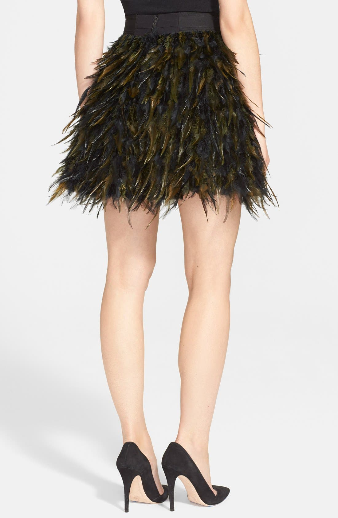 ALICE + OLIVIA,                             'Cina' Feather Skirt,                             Alternate thumbnail 3, color,                             015