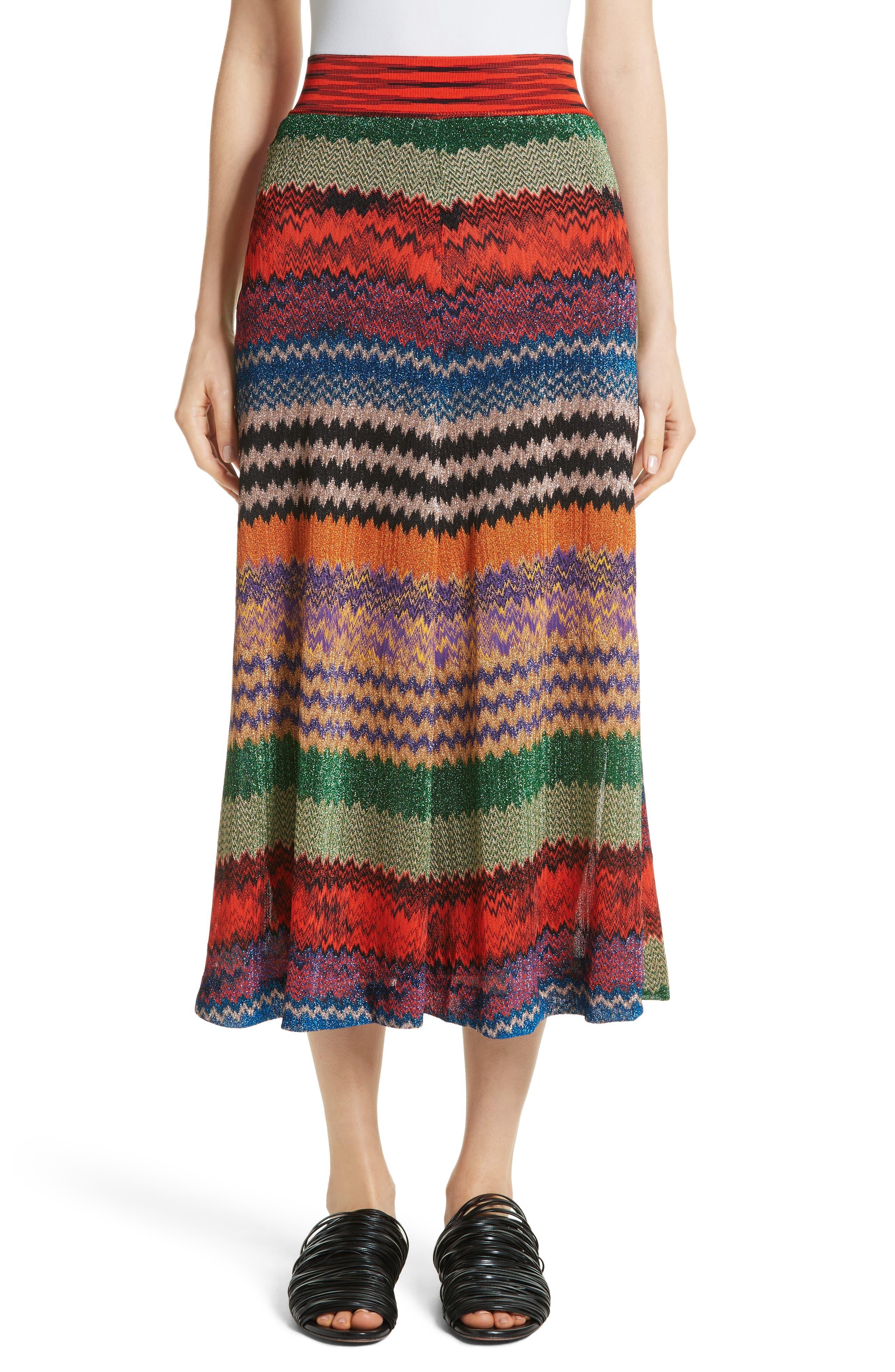 Metallic Stripe Knit Midi Skirt,                         Main,                         color, 640