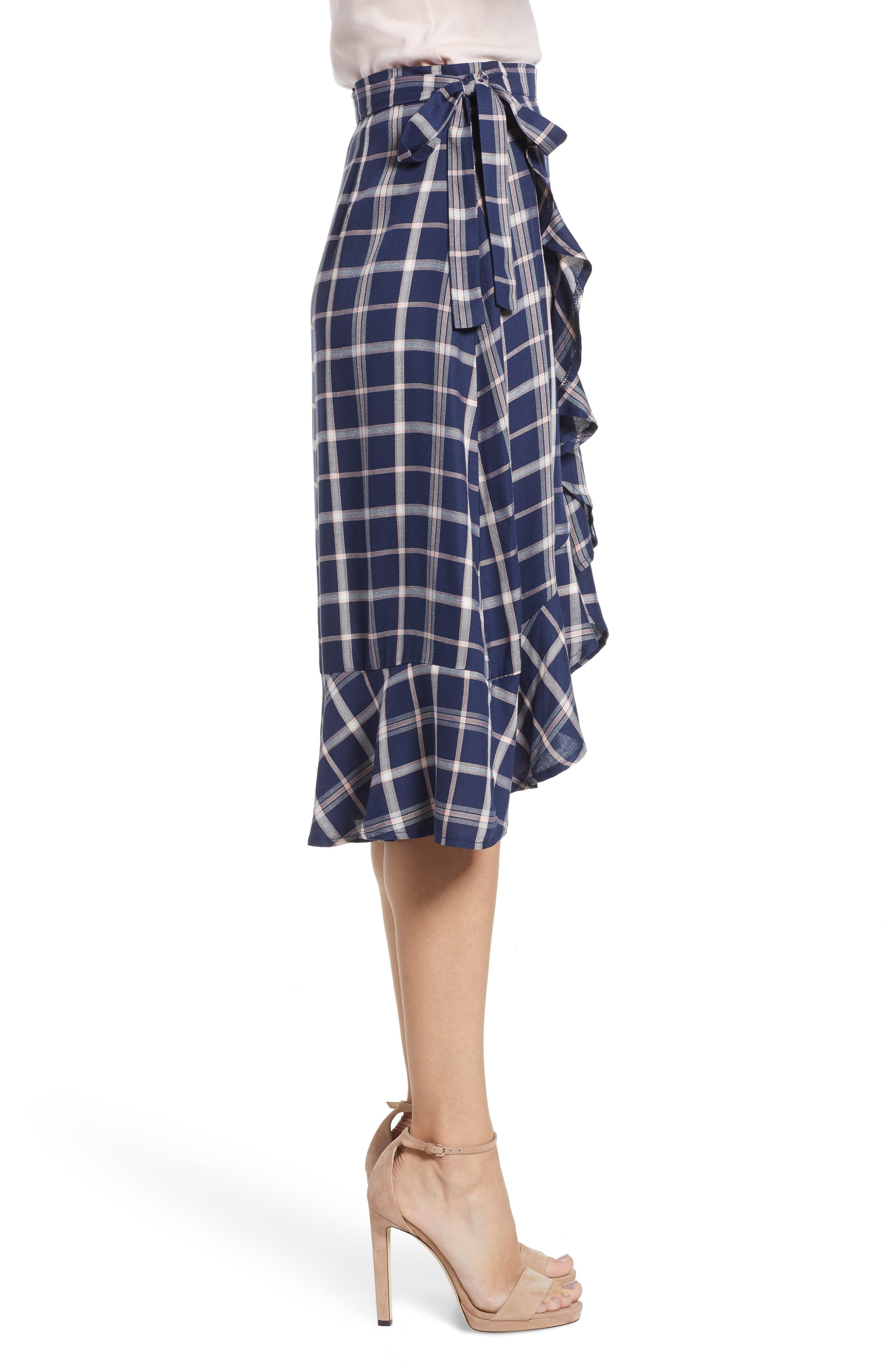 SOMEDAYS LOVIN,                             Plaid Ruffle Wrap Skirt,                             Alternate thumbnail 3, color,                             NAVY