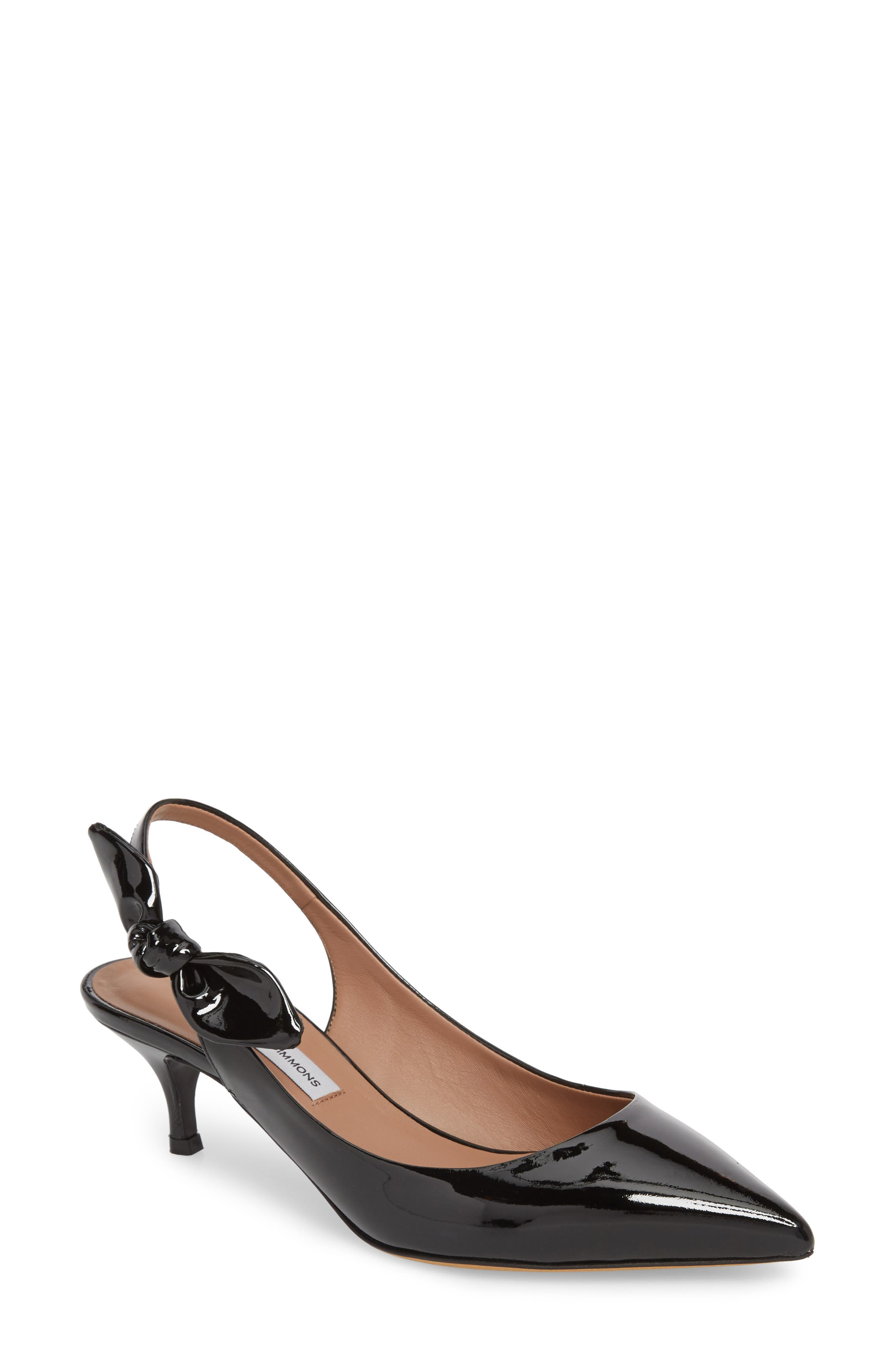 Rise Bow Slingback Pump,                             Main thumbnail 1, color,                             BLACK PATENT