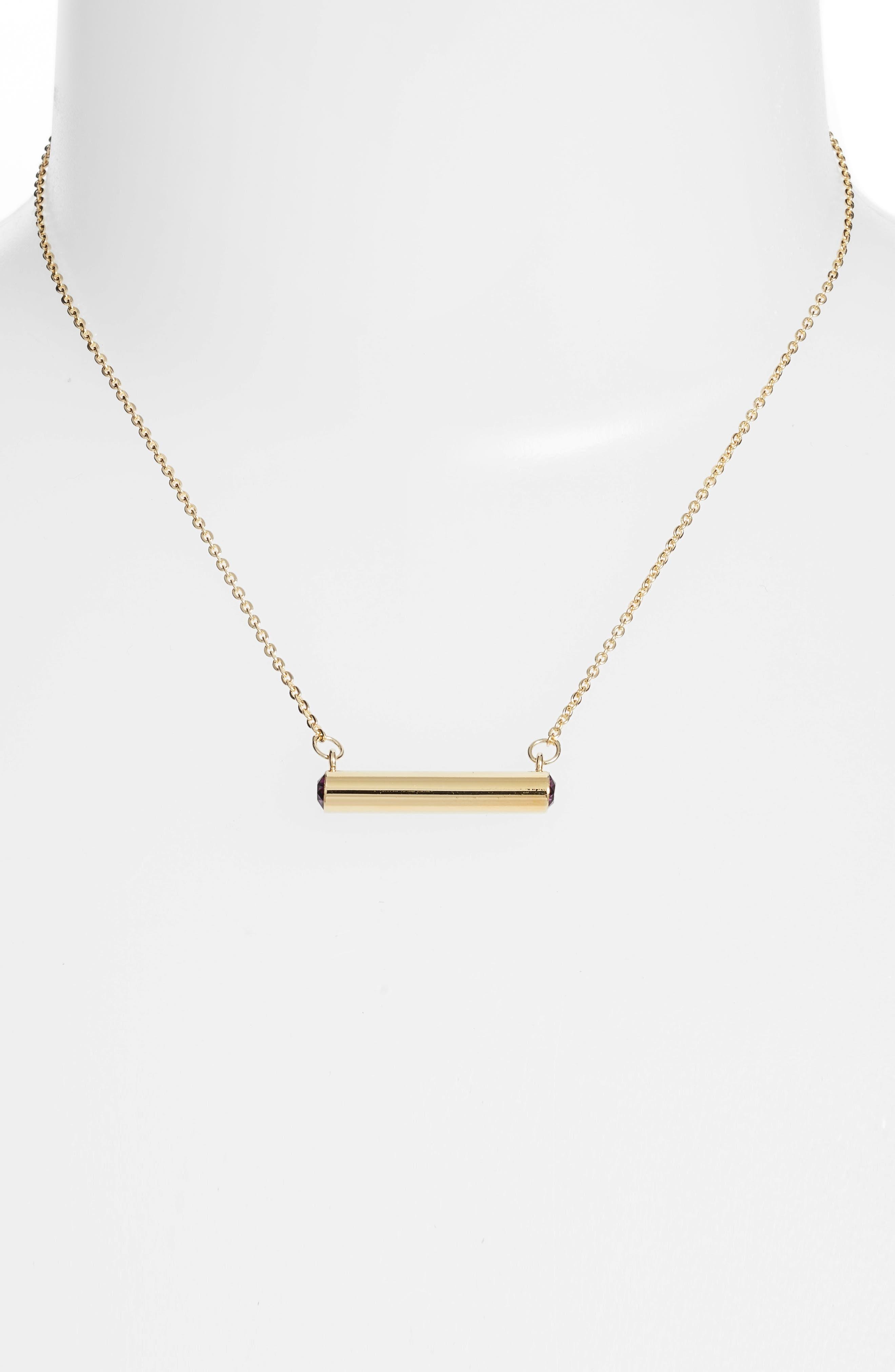 February Crystal Bar Pendant Necklace,                             Alternate thumbnail 4, color,