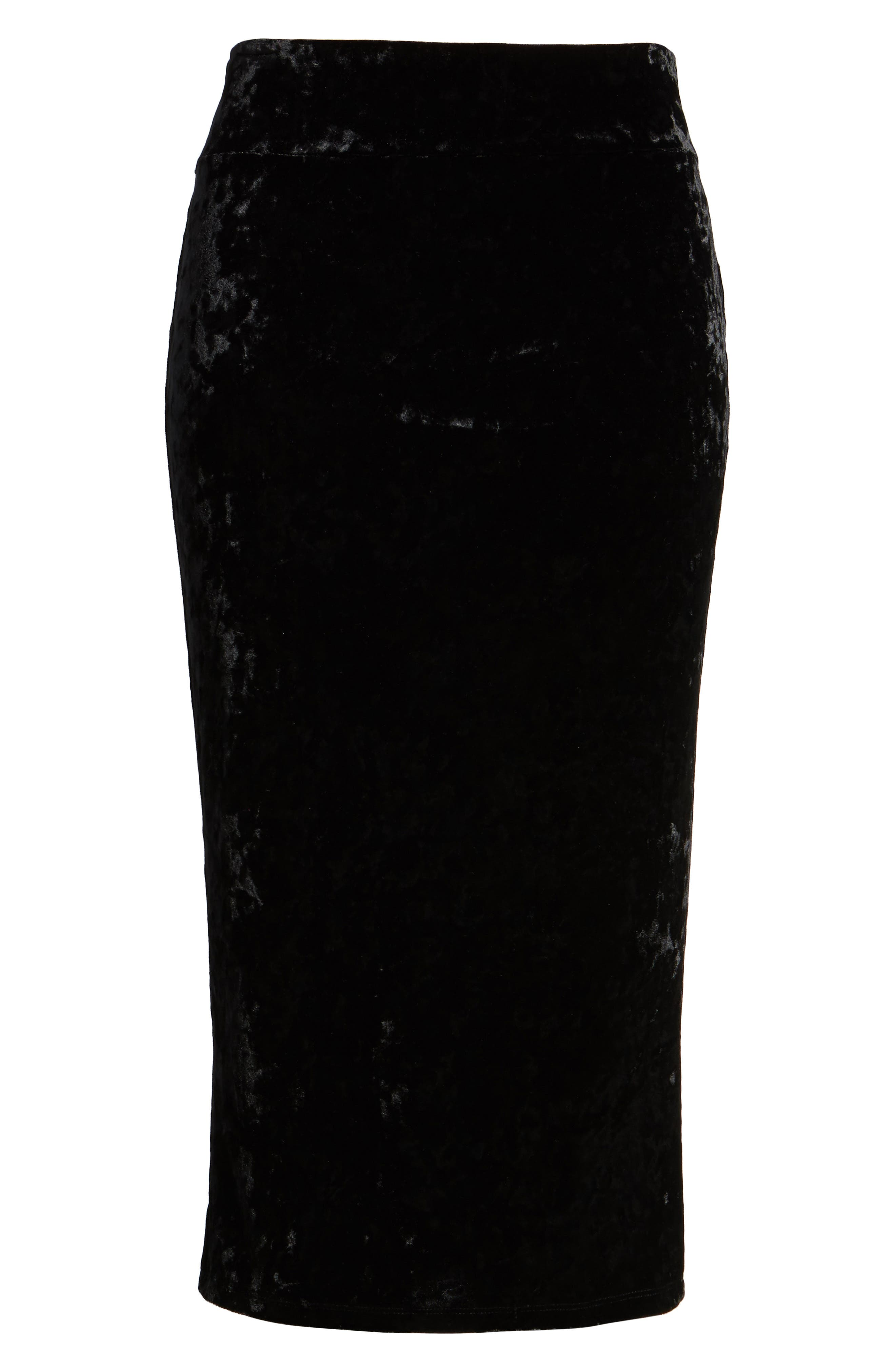 Leigh High Waist Velour Pencil Skirt,                             Alternate thumbnail 6, color,                             001