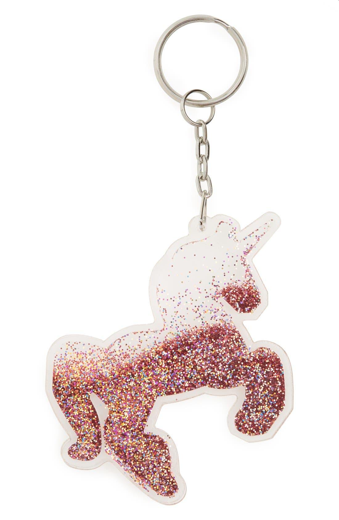 TOPSHOP Glitter Unicorn Bag Charm, Main, color, 040
