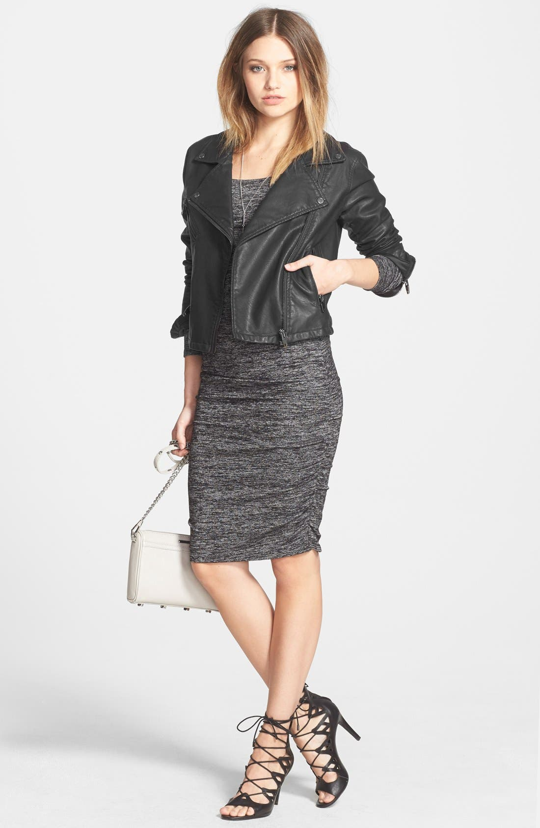 Ruched Body-Con Dress,                             Alternate thumbnail 3, color,                             021