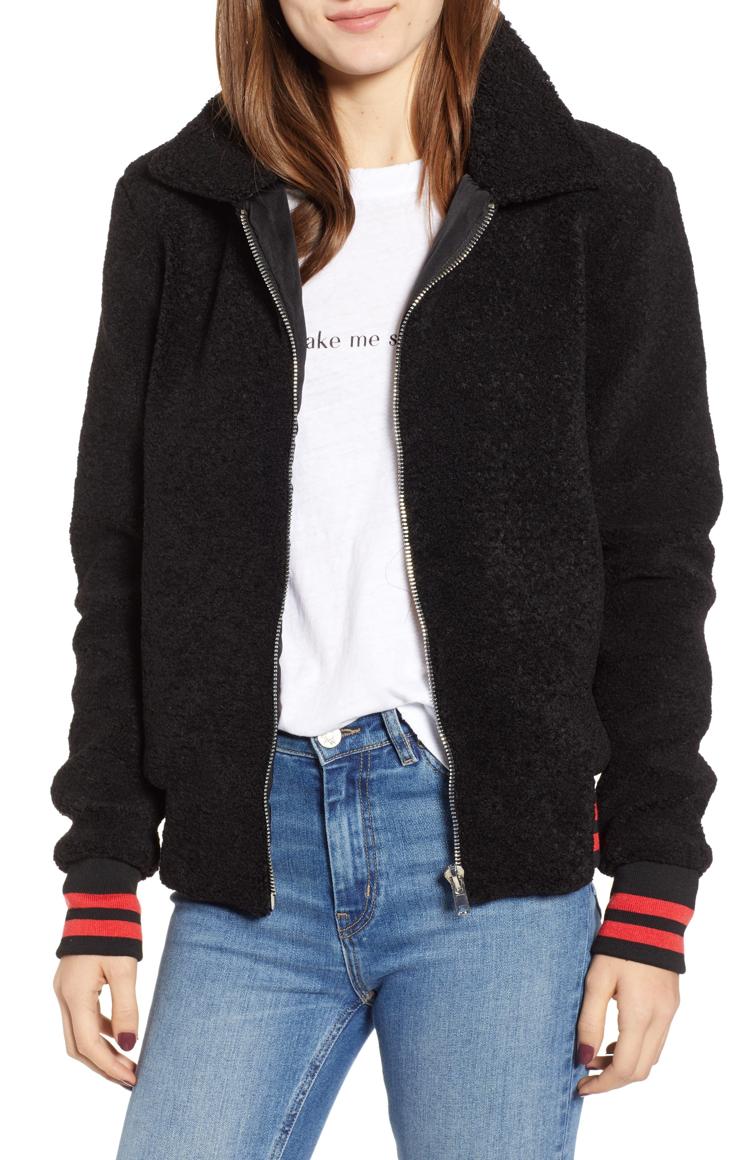 Gray Faux Fur Track Jacket, Main, color, BLACK CAT