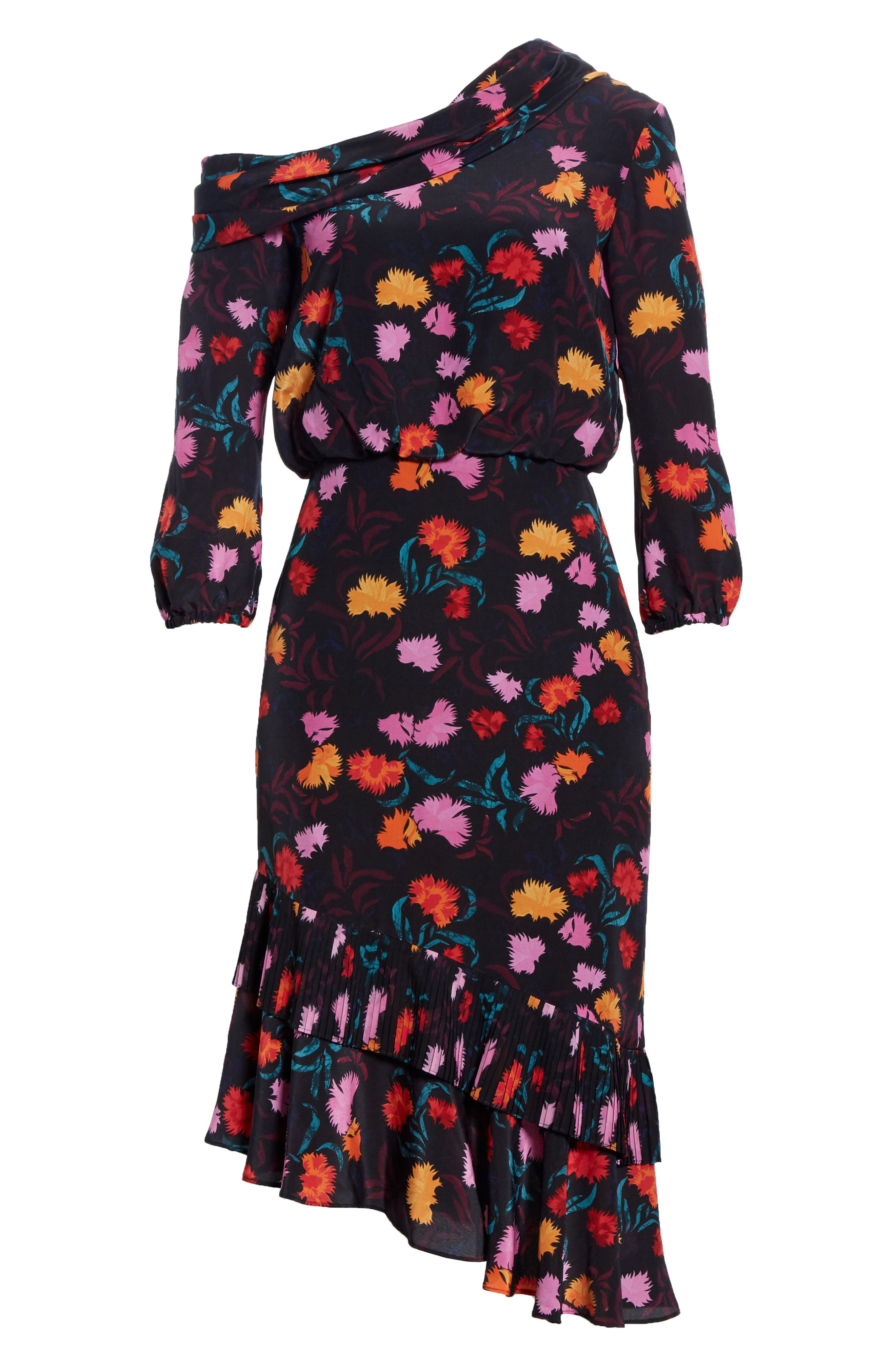 Lexie Floral Print Silk Off the Shoulder Dress,                             Alternate thumbnail 6, color,                             BLACK AZALEA