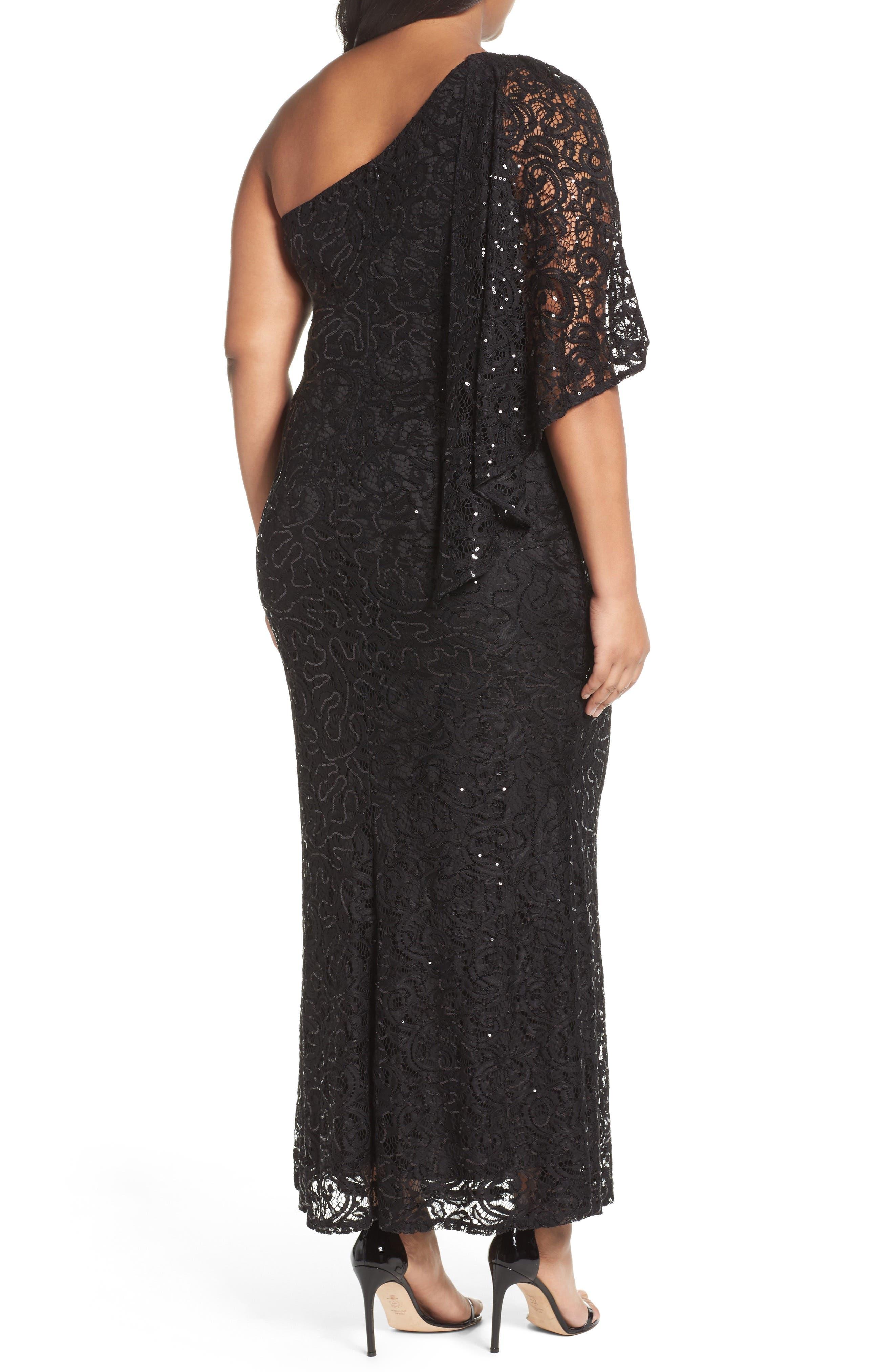 Sequin Lace One-Shoulder Gown,                             Alternate thumbnail 2, color,                             001