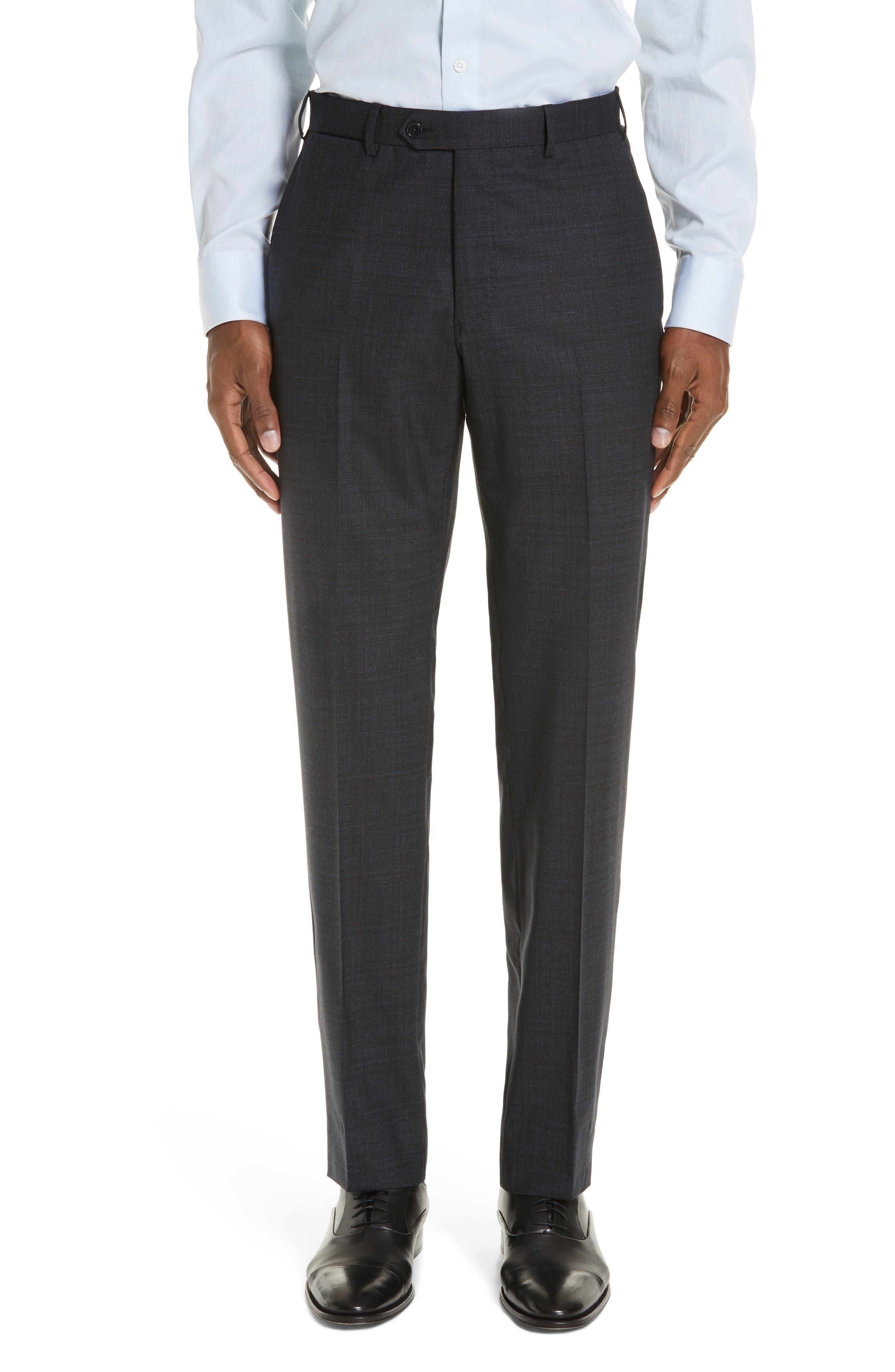 G-Line Trim Fit Stretch Plaid Wool Suit,                             Alternate thumbnail 6, color,                             NAVY/ BROWN