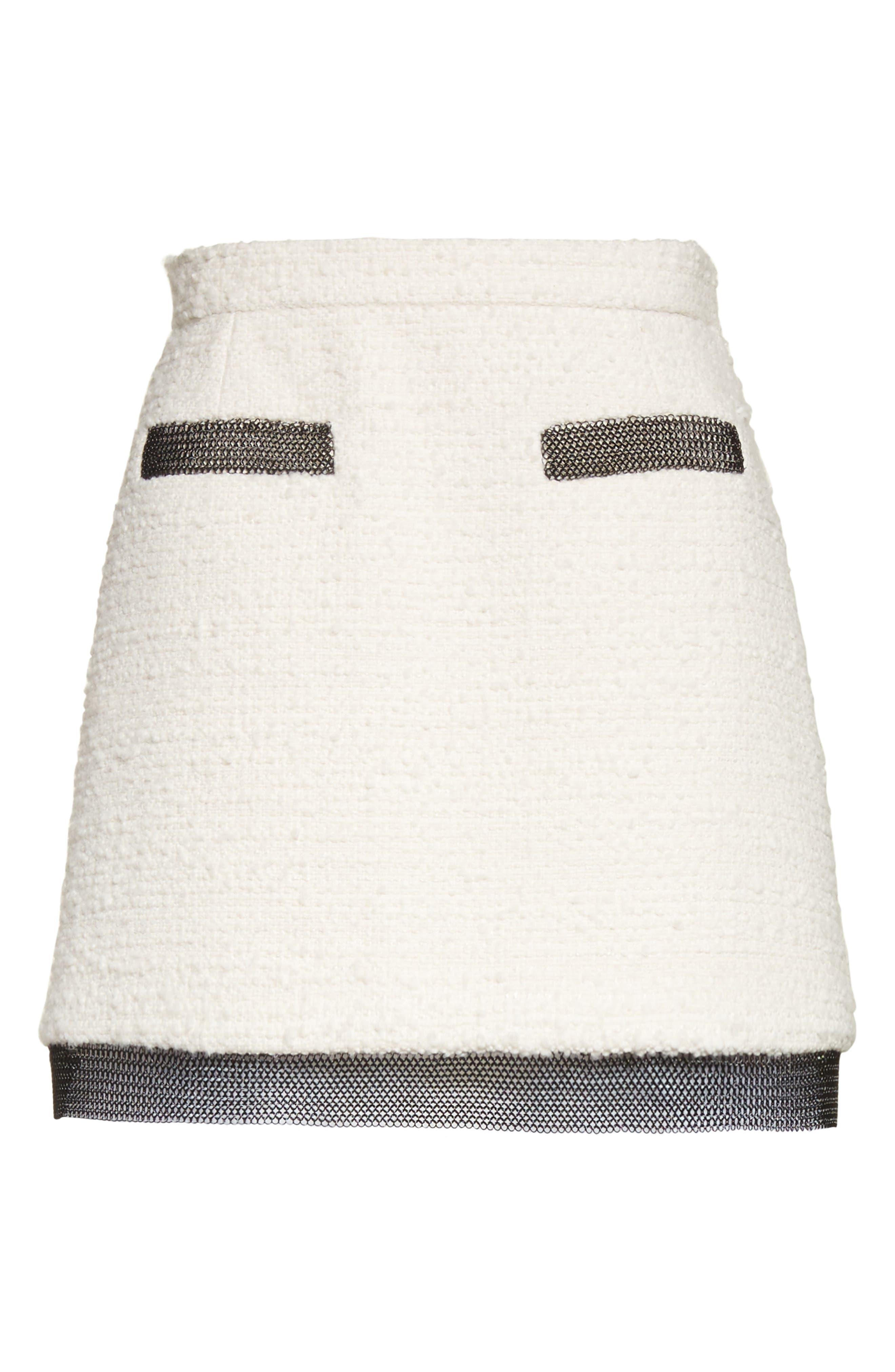 Chain Mail Trim Tweed Miniskirt,                             Alternate thumbnail 6, color,