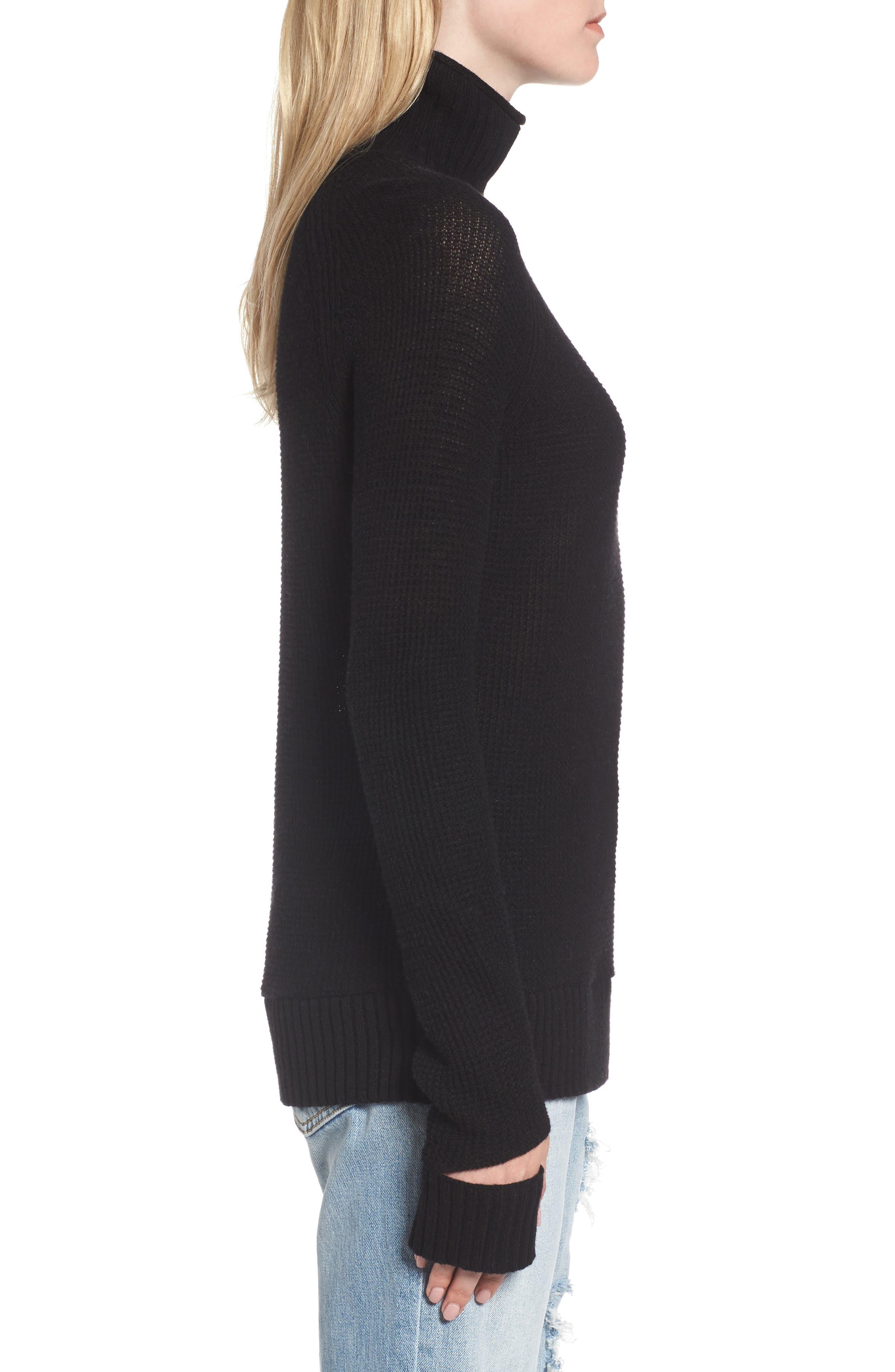 Jenni Turtleneck Sweater,                             Alternate thumbnail 3, color,                             001