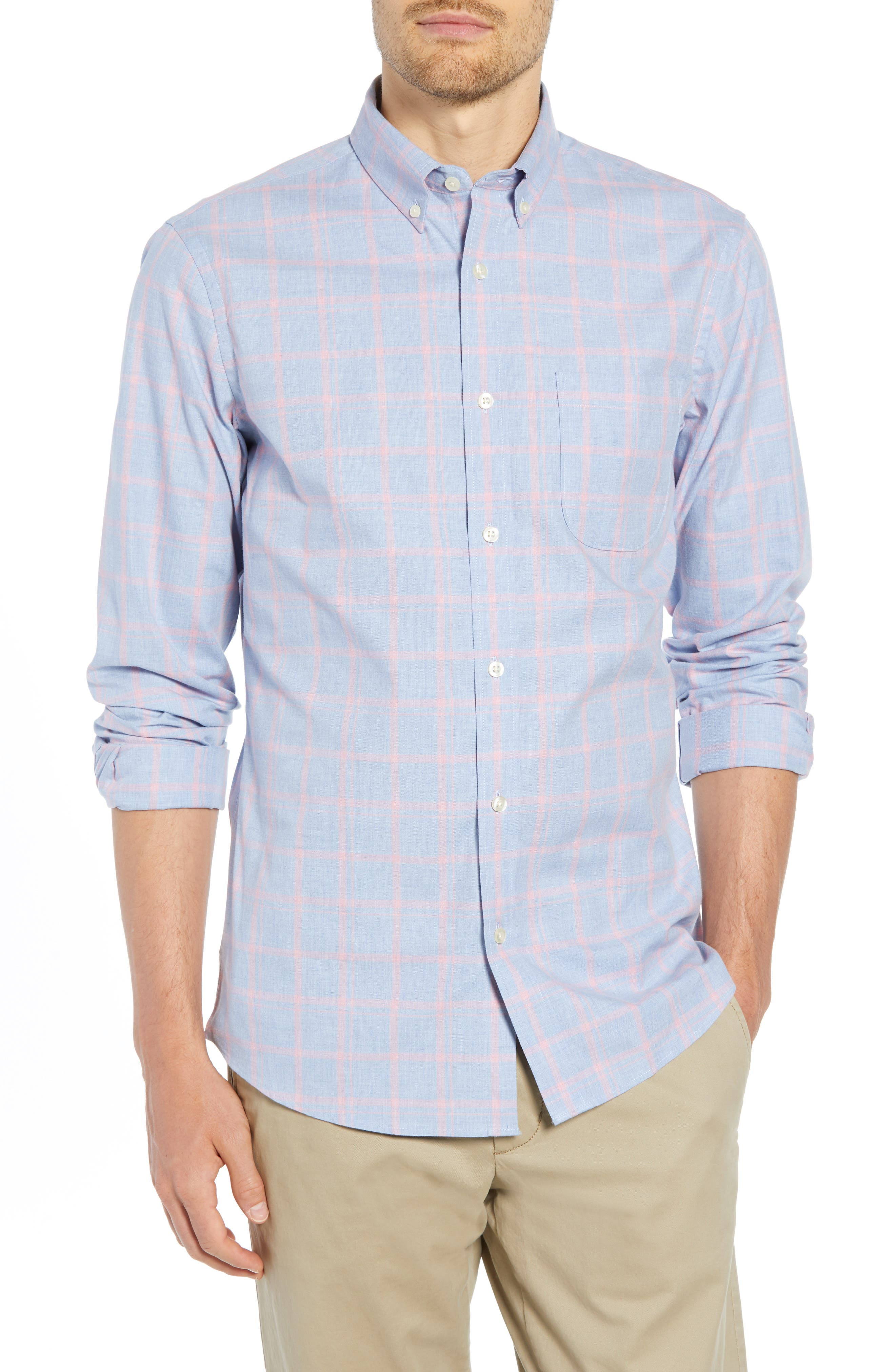 Slim Fit Chambray Sport Shirt,                         Main,                         color, 450