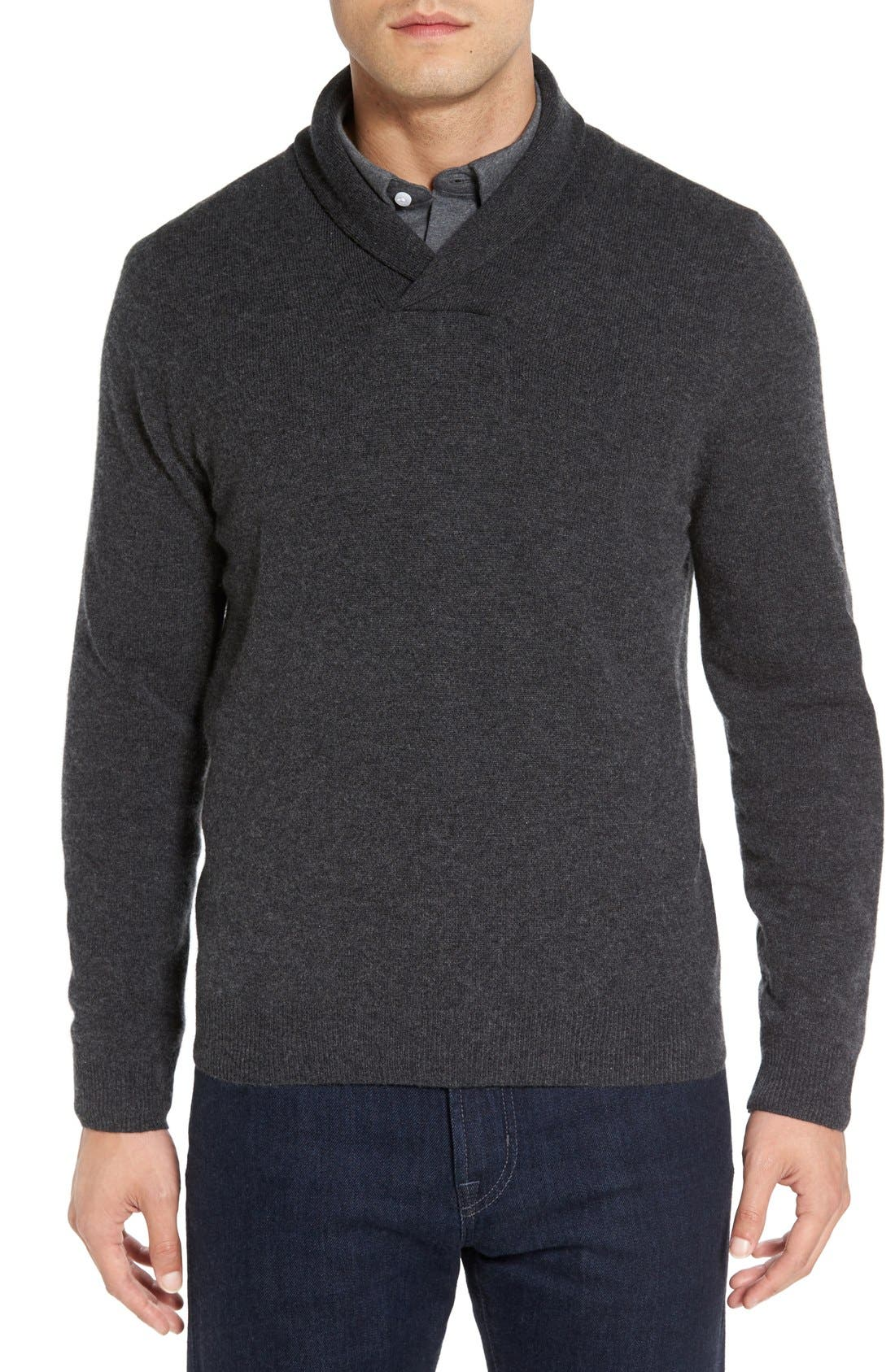 Shawl Collar Cashmere Pullover,                             Main thumbnail 1, color,                             GREY DARK CHARCOAL HEATHER