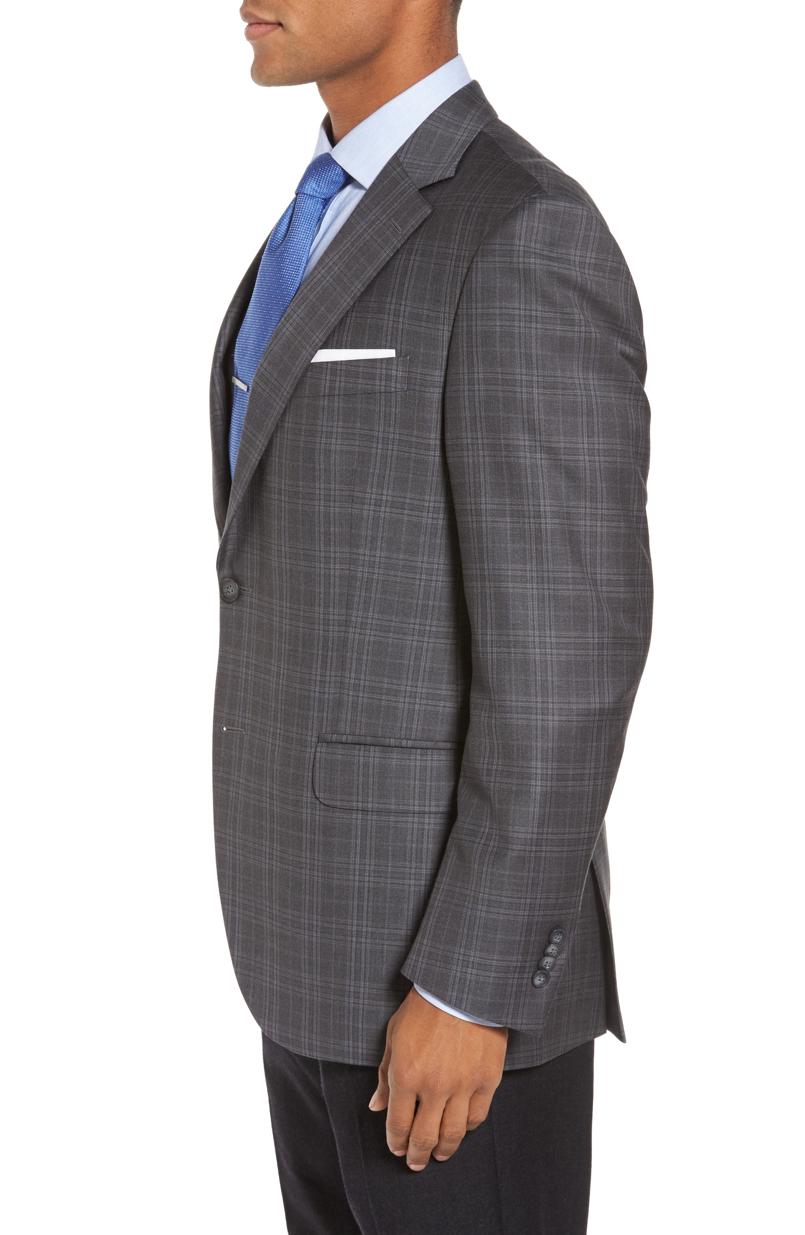 Flynn Classic Fit Plaid Wool Sport Coat,                             Alternate thumbnail 3, color,                             020