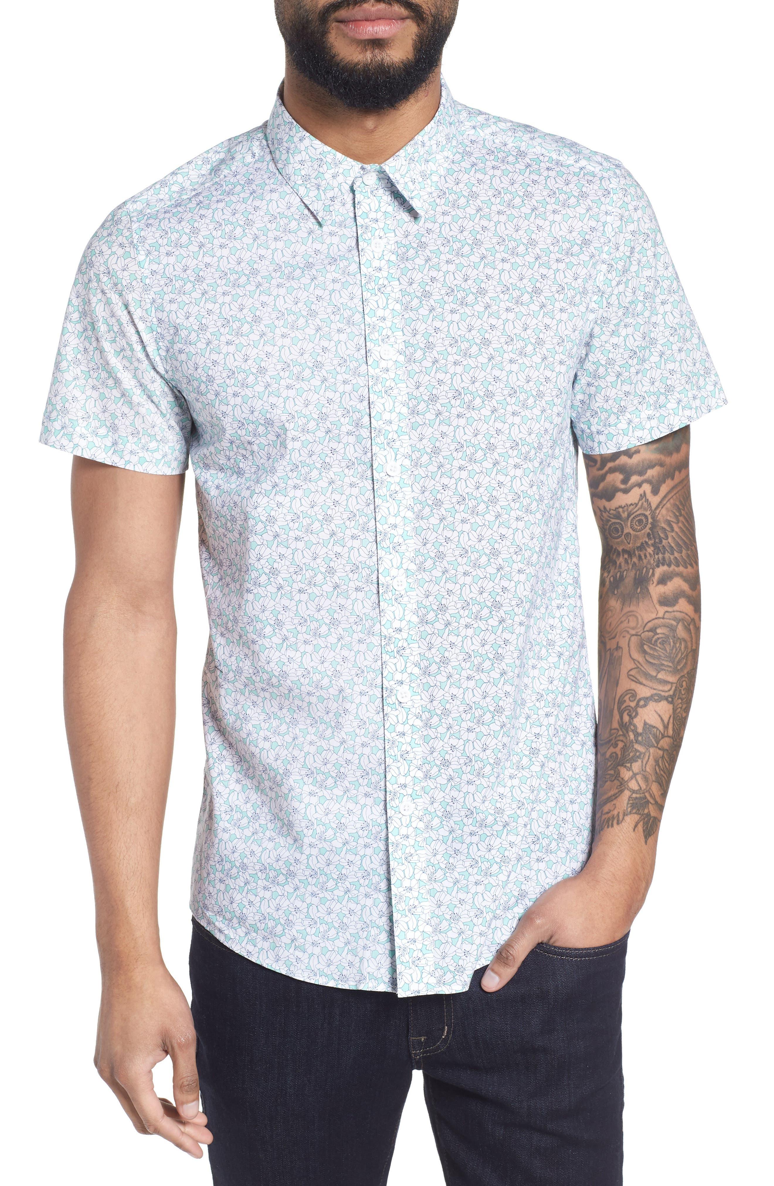 Slim Flit Floral Woven Shirt,                         Main,                         color, 332