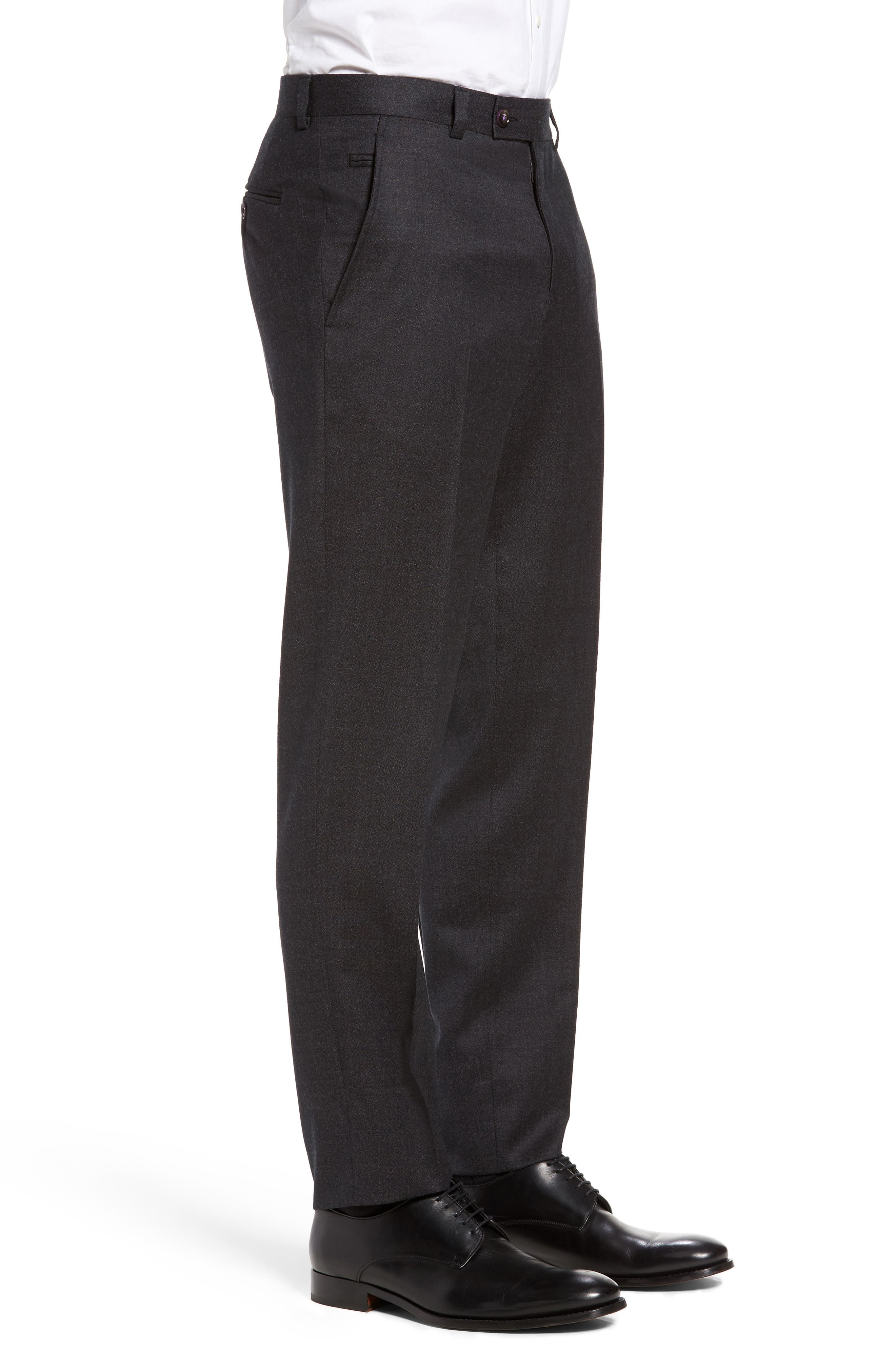 Jeremy Flat Front Solid Wool Trousers,                             Alternate thumbnail 4, color,                             050