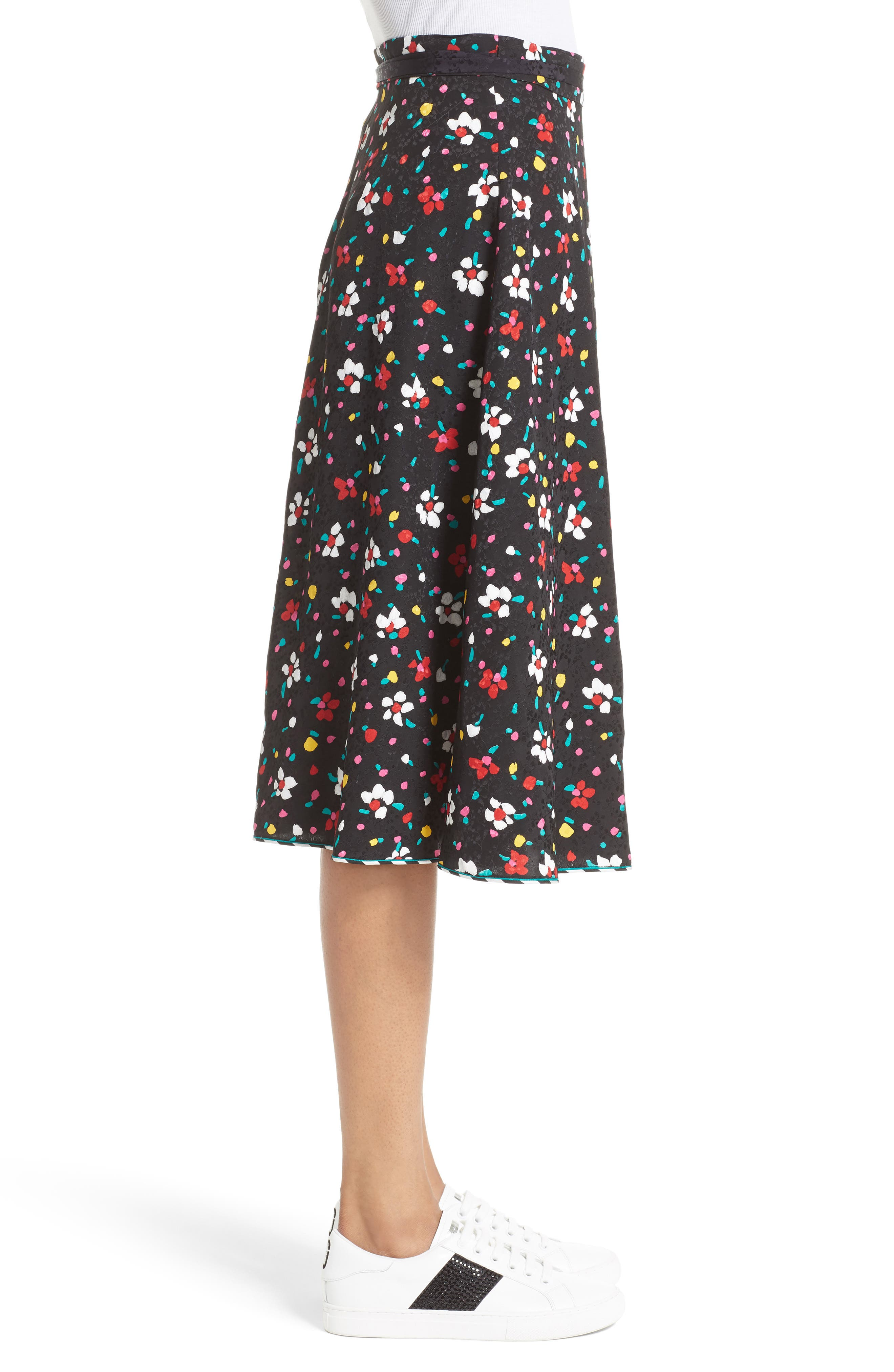 Floral Silk Jacquard Wrap Skirt,                             Alternate thumbnail 3, color,                             002
