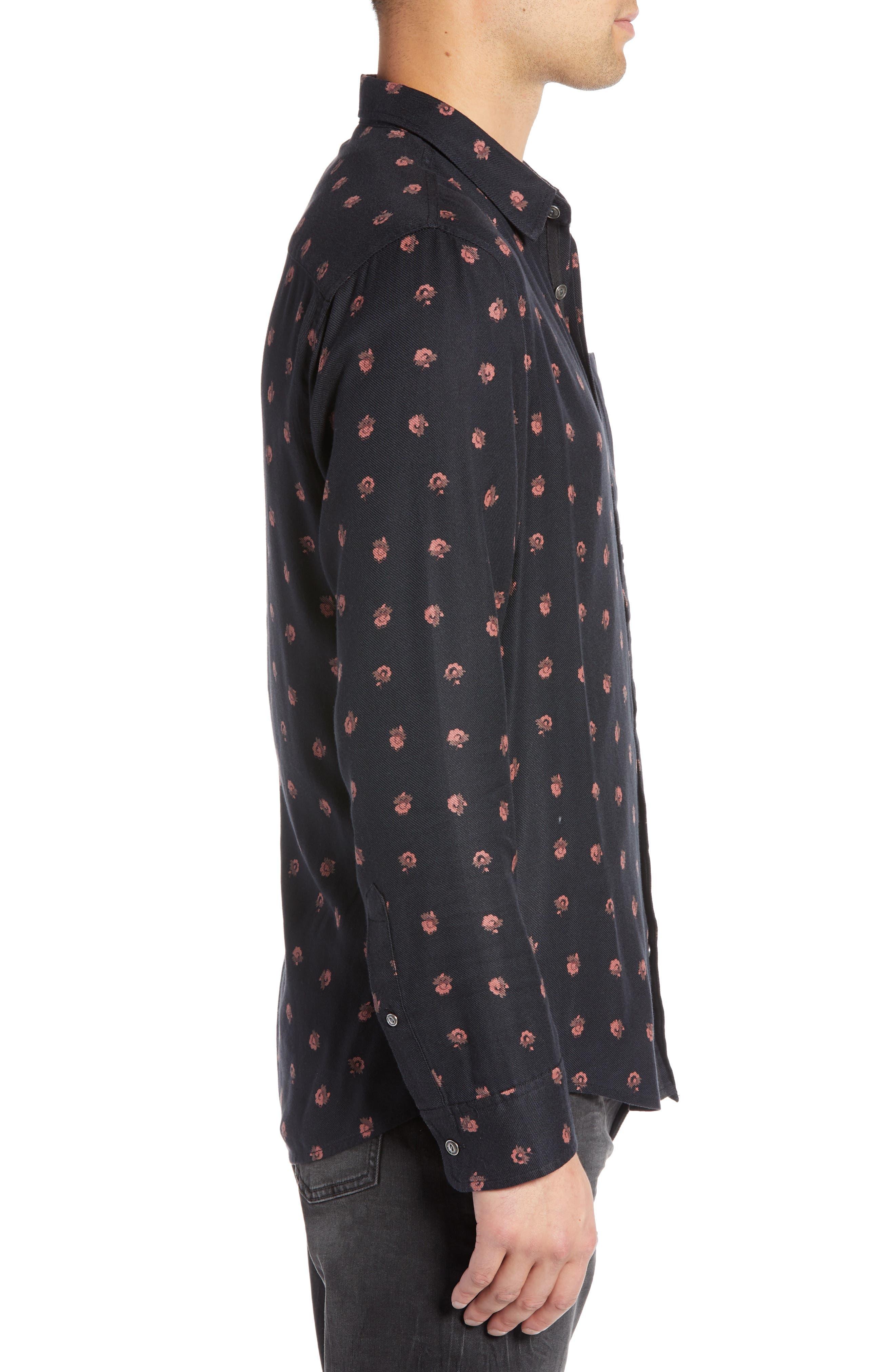 Regular Fit Floral Print Sport Shirt,                             Alternate thumbnail 4, color,                             BLACK DESERT DITSY