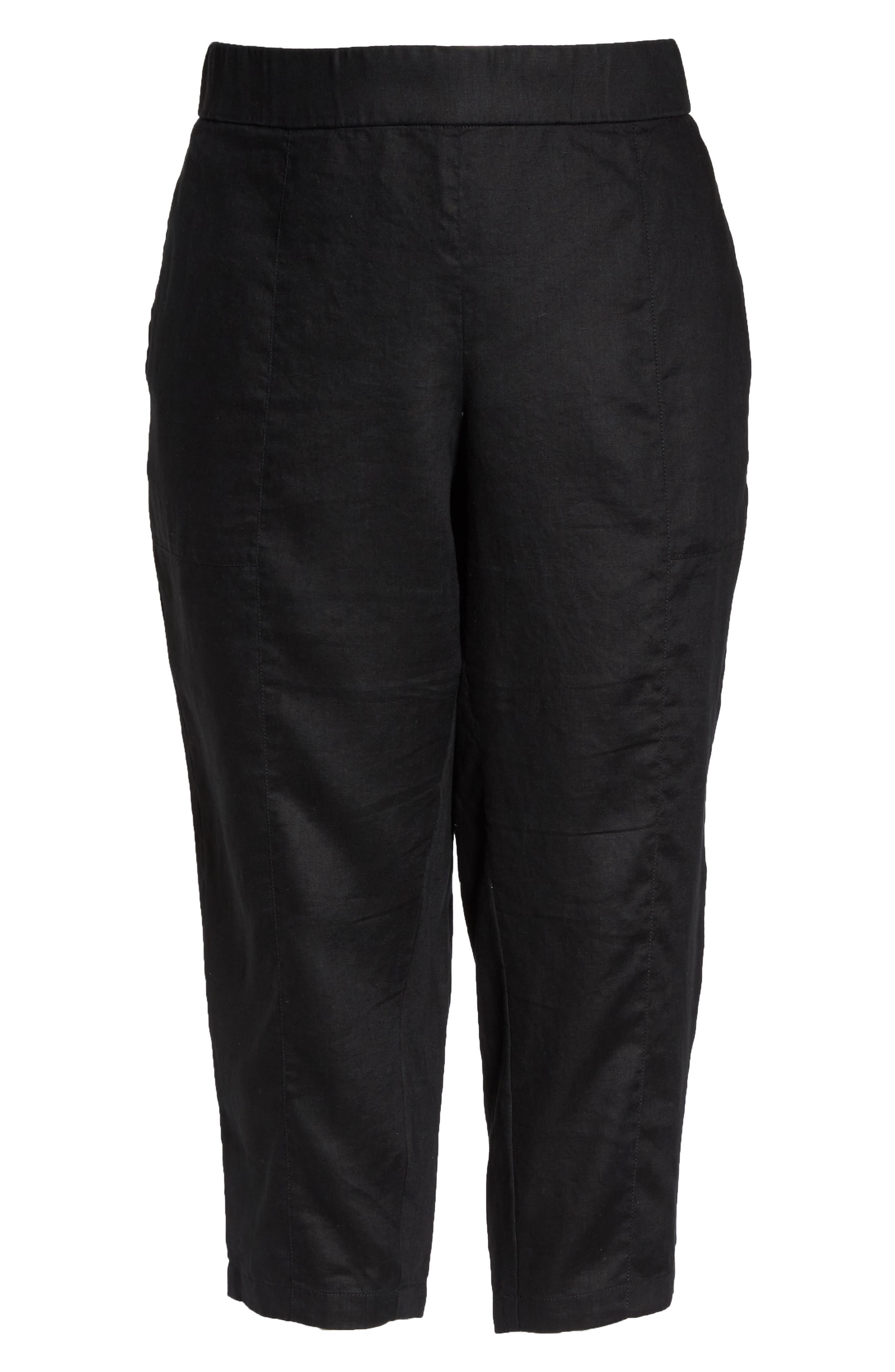 Linen Ankle Pants,                             Alternate thumbnail 7, color,                             BLACK