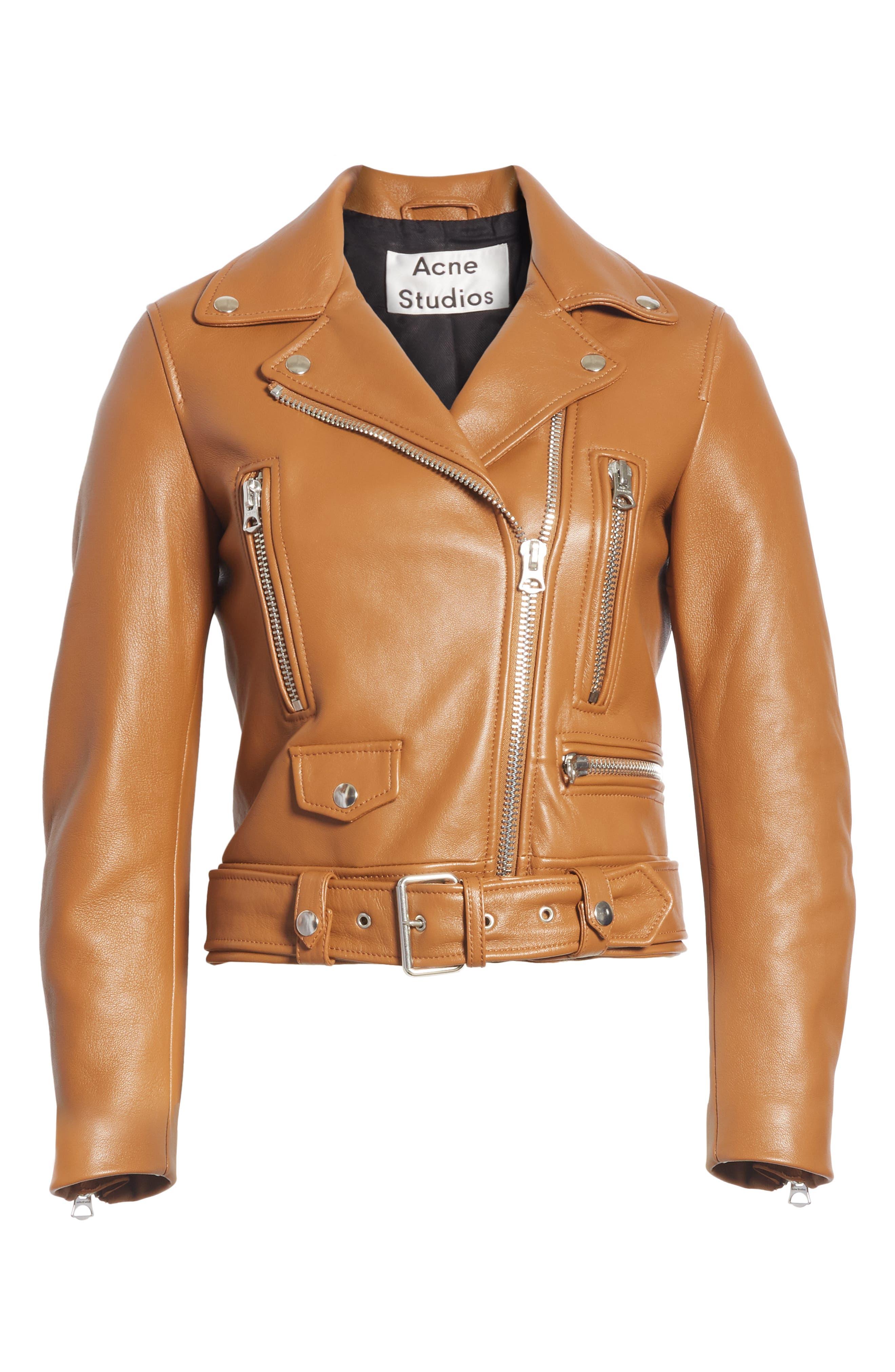 Mock Core Leather Moto Jacket,                             Alternate thumbnail 5, color,                             200