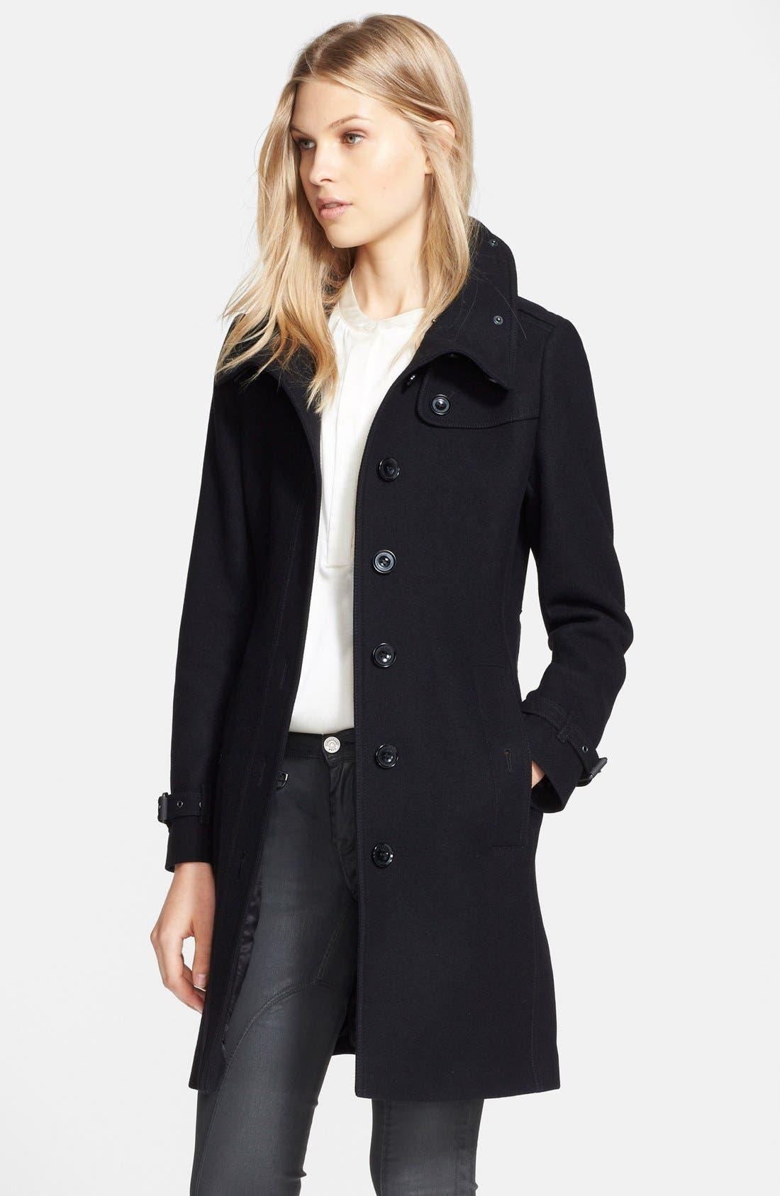 'Rushfield' Wool Blend Single Breasted Coat,                             Alternate thumbnail 3, color,                             001