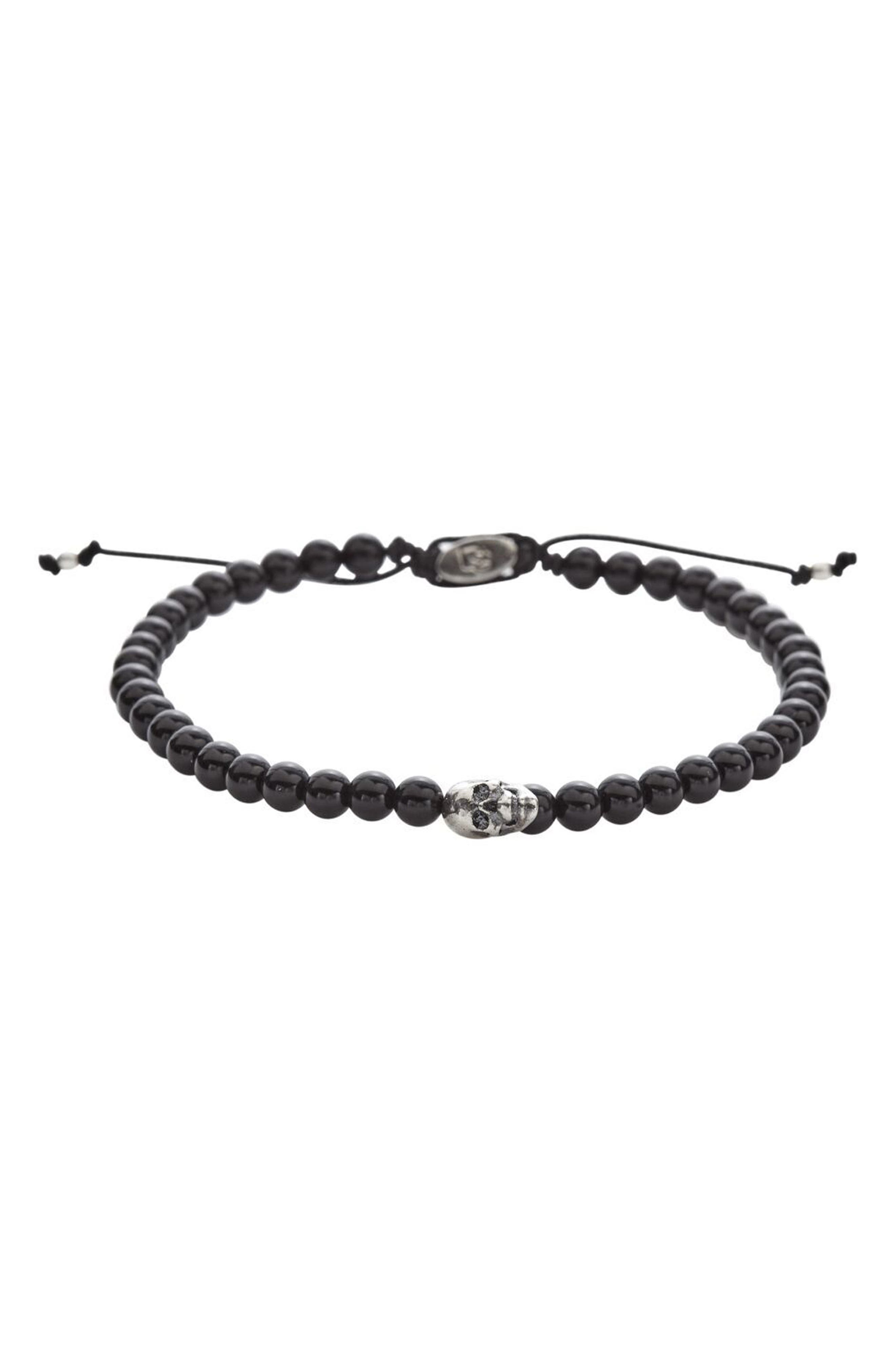 Onyx Bead Bracelet,                             Alternate thumbnail 2, color,                             BLACK