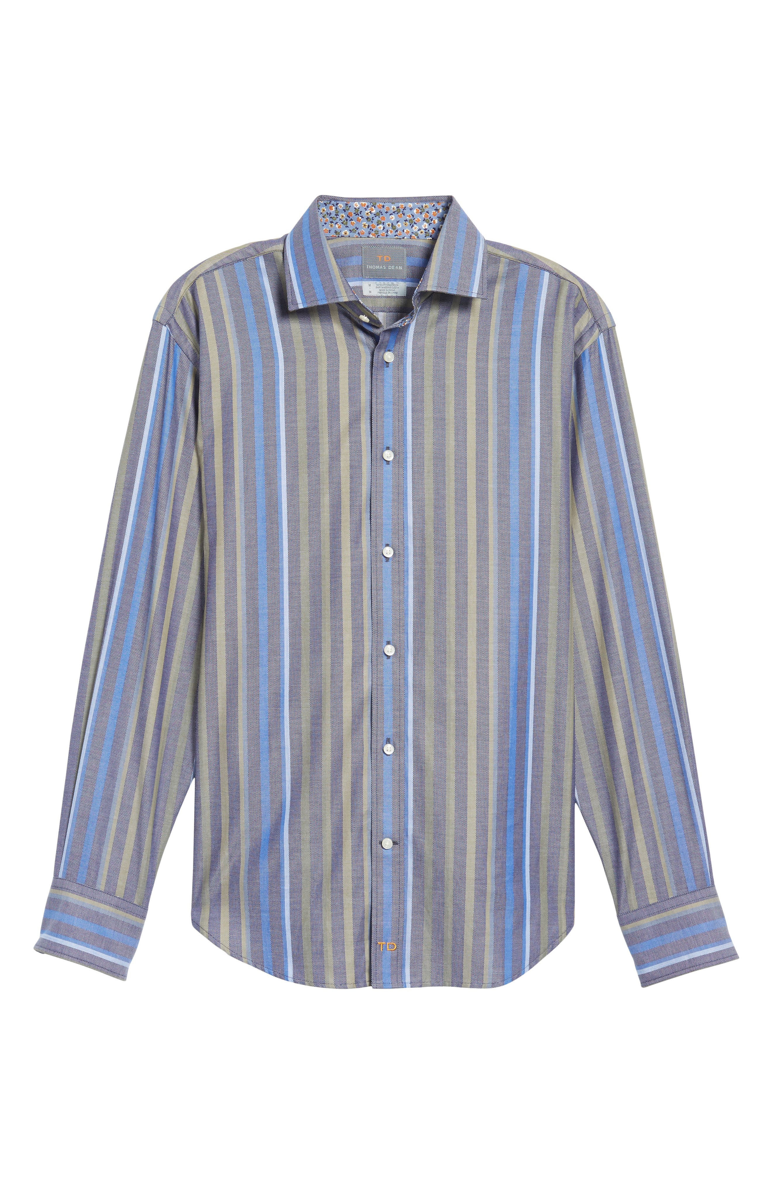 Regular Fit Stripe Sport Shirt,                             Alternate thumbnail 6, color,                             300