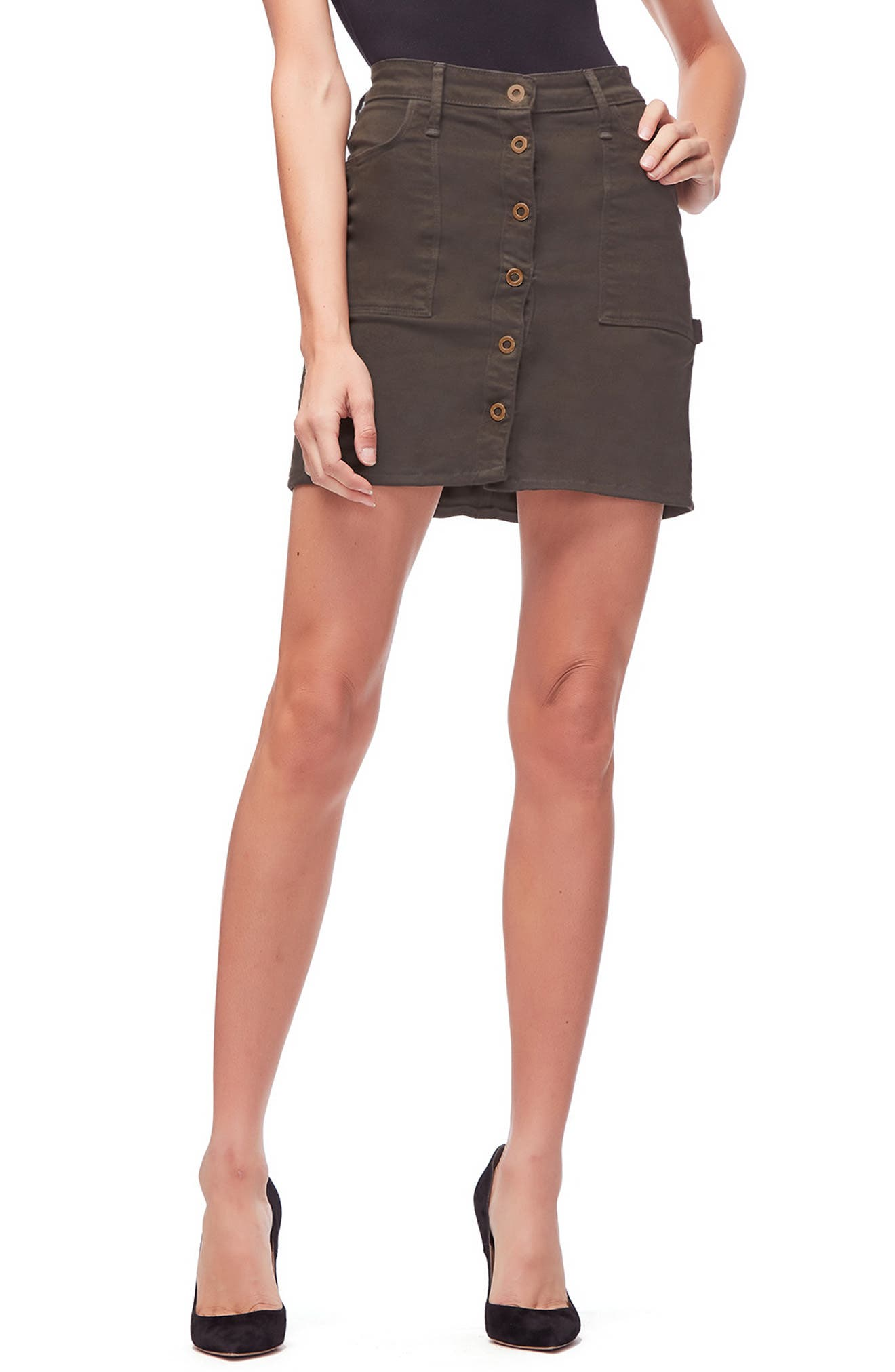 Front Button Miniskirt,                         Main,                         color, OLIVE001
