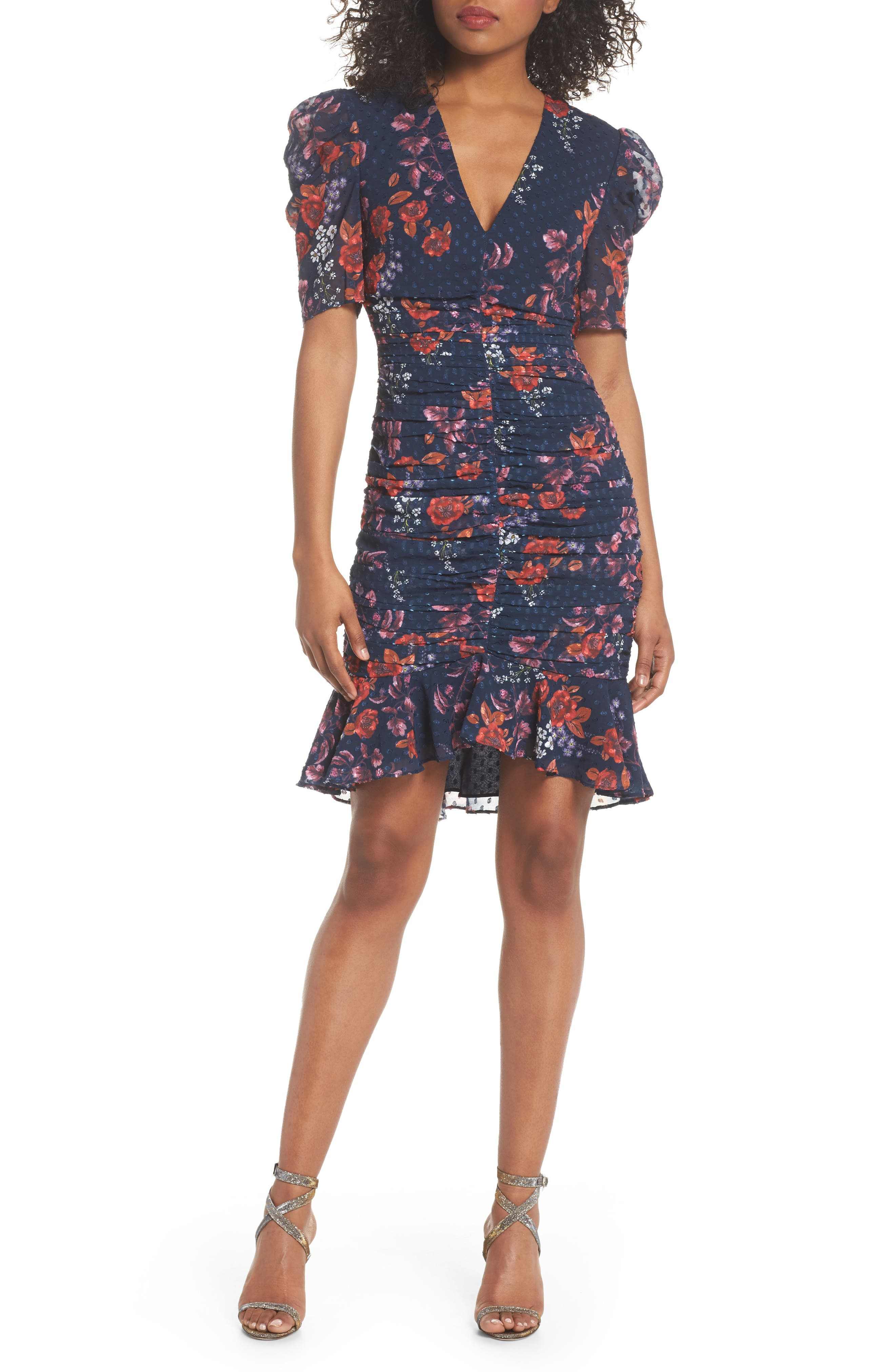KEEPSAKE THE LABEL,                             Need You Now Floral Ruched Dress,                             Main thumbnail 1, color,                             411