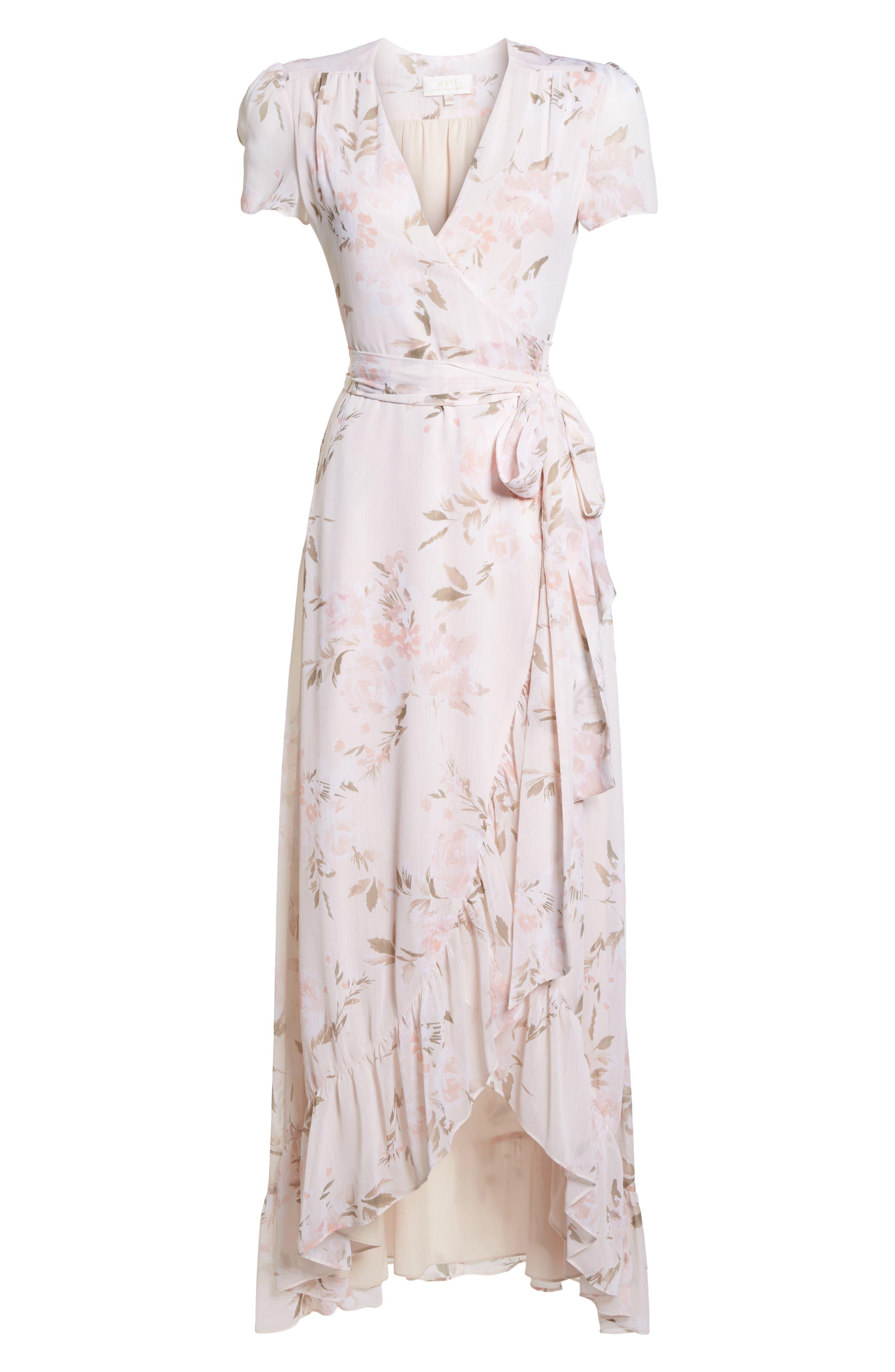 The Natasha Floral Wrap Maxi Dress,                             Alternate thumbnail 6, color,                             BLUSH BOUQUET PRINT