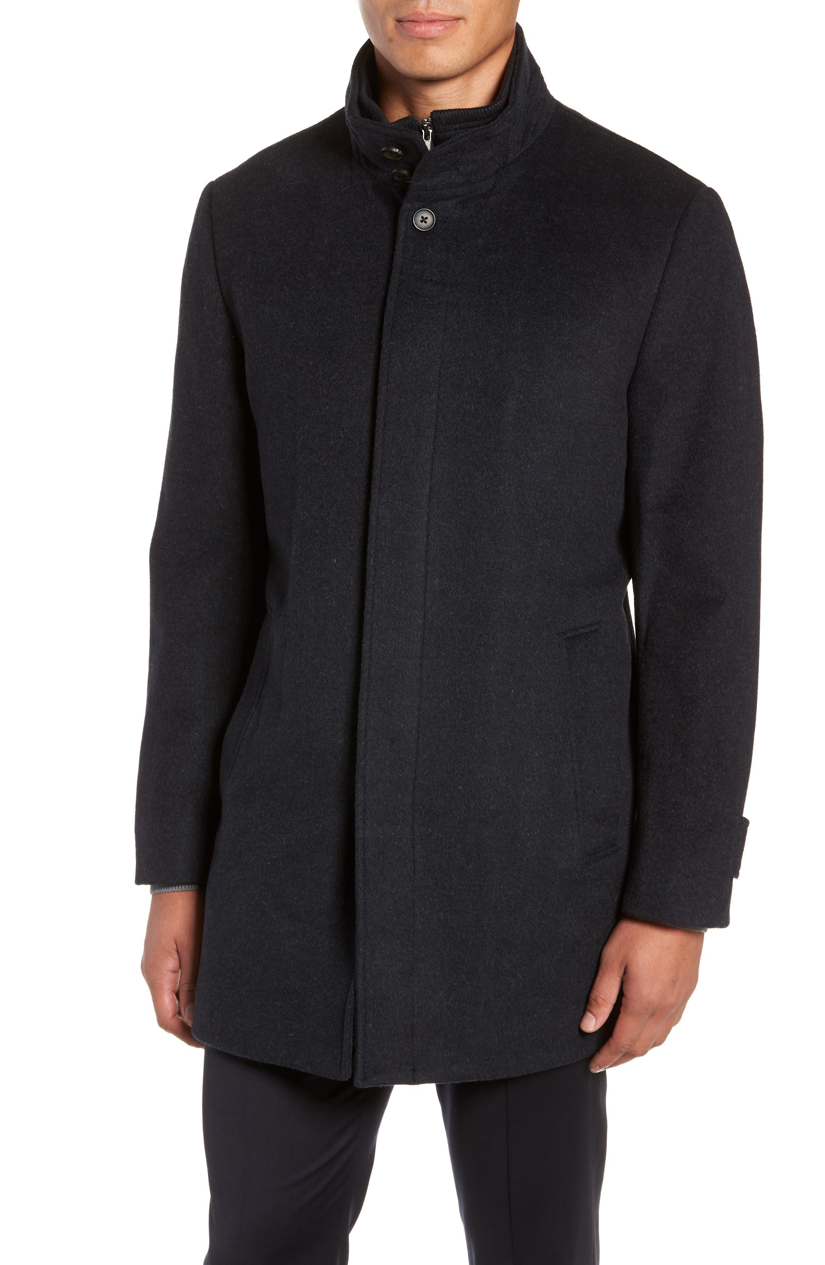 Hudson Wool Car Coat,                             Alternate thumbnail 4, color,                             NAVY MELANGE