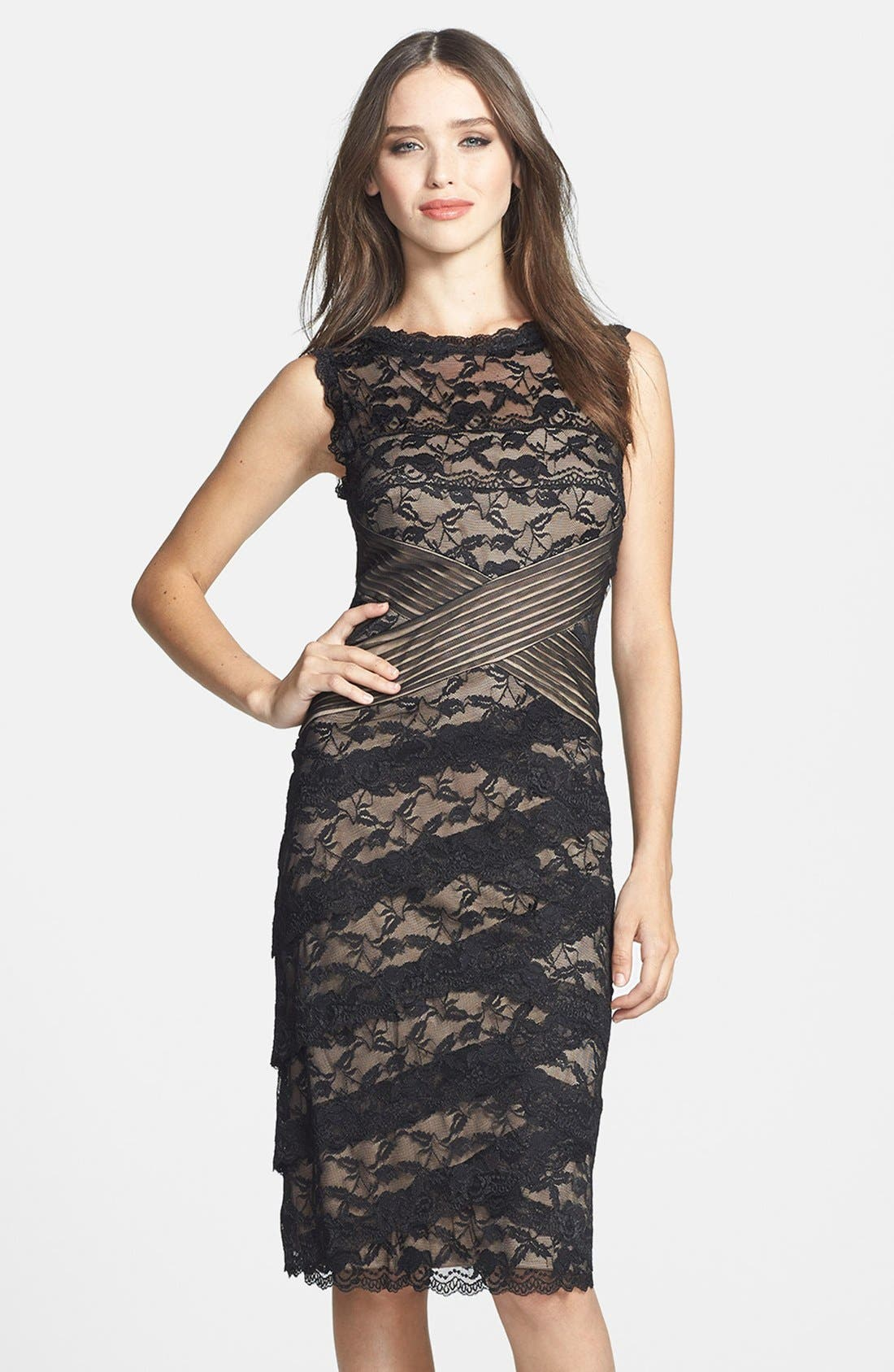 MARINA Pleat Mesh & Tiered Lace Sheath Dress, Main, color, 003