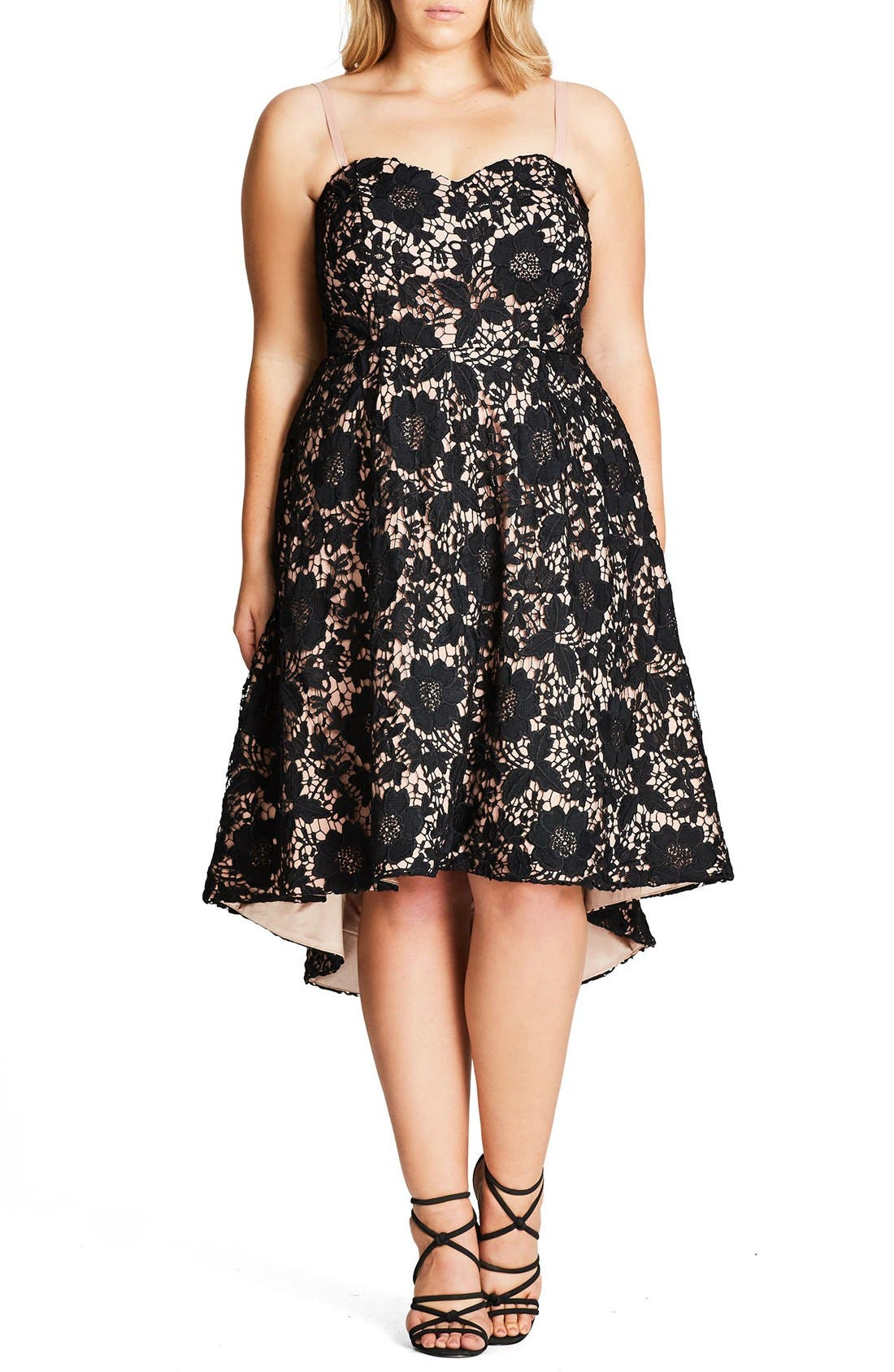 Sierra Lace Strapless Fit & Flare Dress,                         Main,                         color, 656