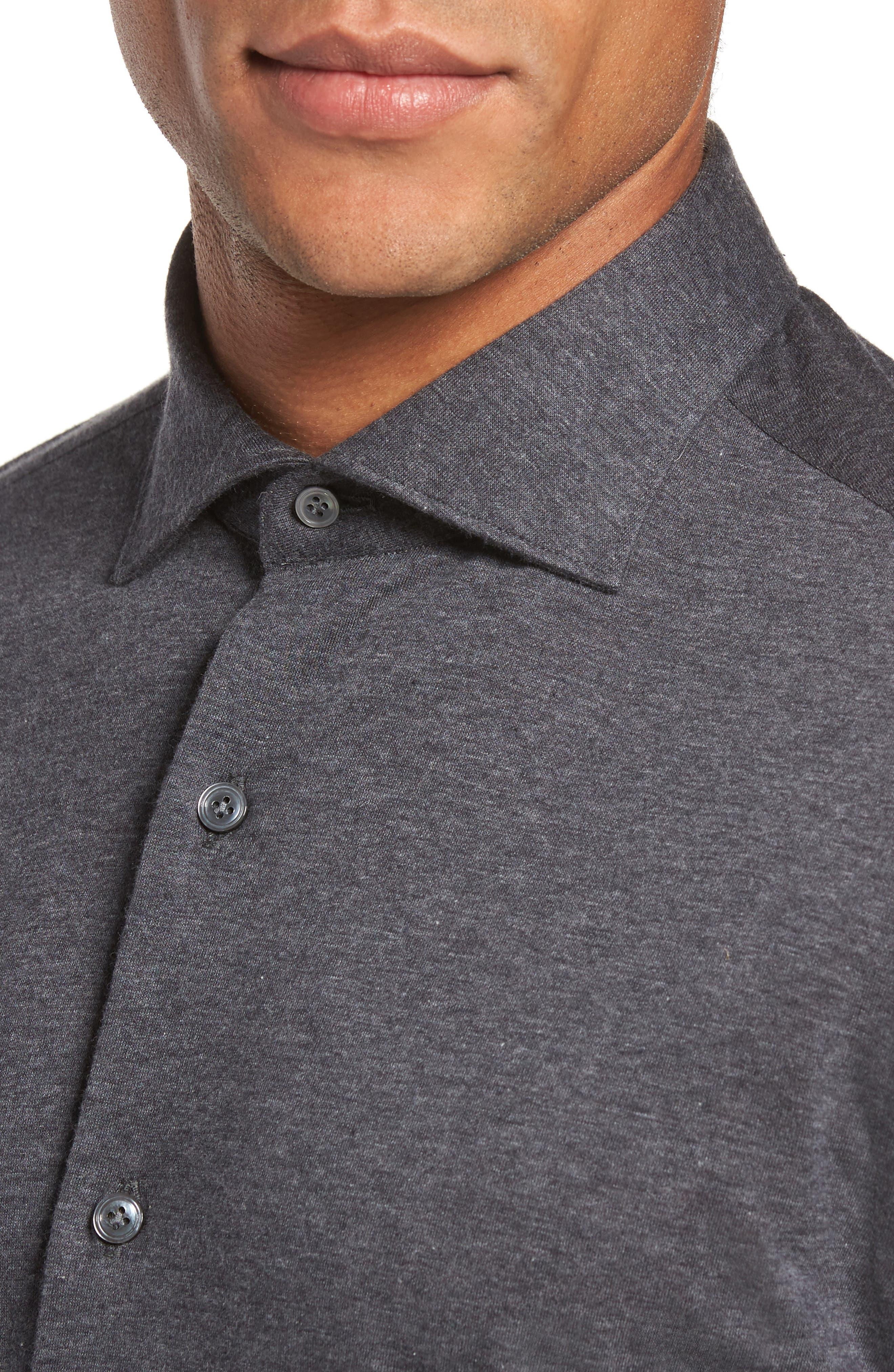 Slim Fit Jersey Sport Shirt,                             Alternate thumbnail 4, color,                             021