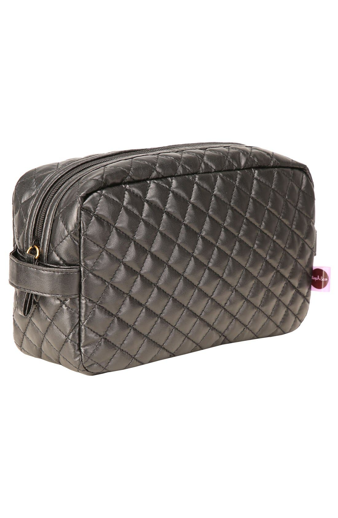 'Viveca' Quilted Black Cosmetics Case,                             Alternate thumbnail 4, color,                             000