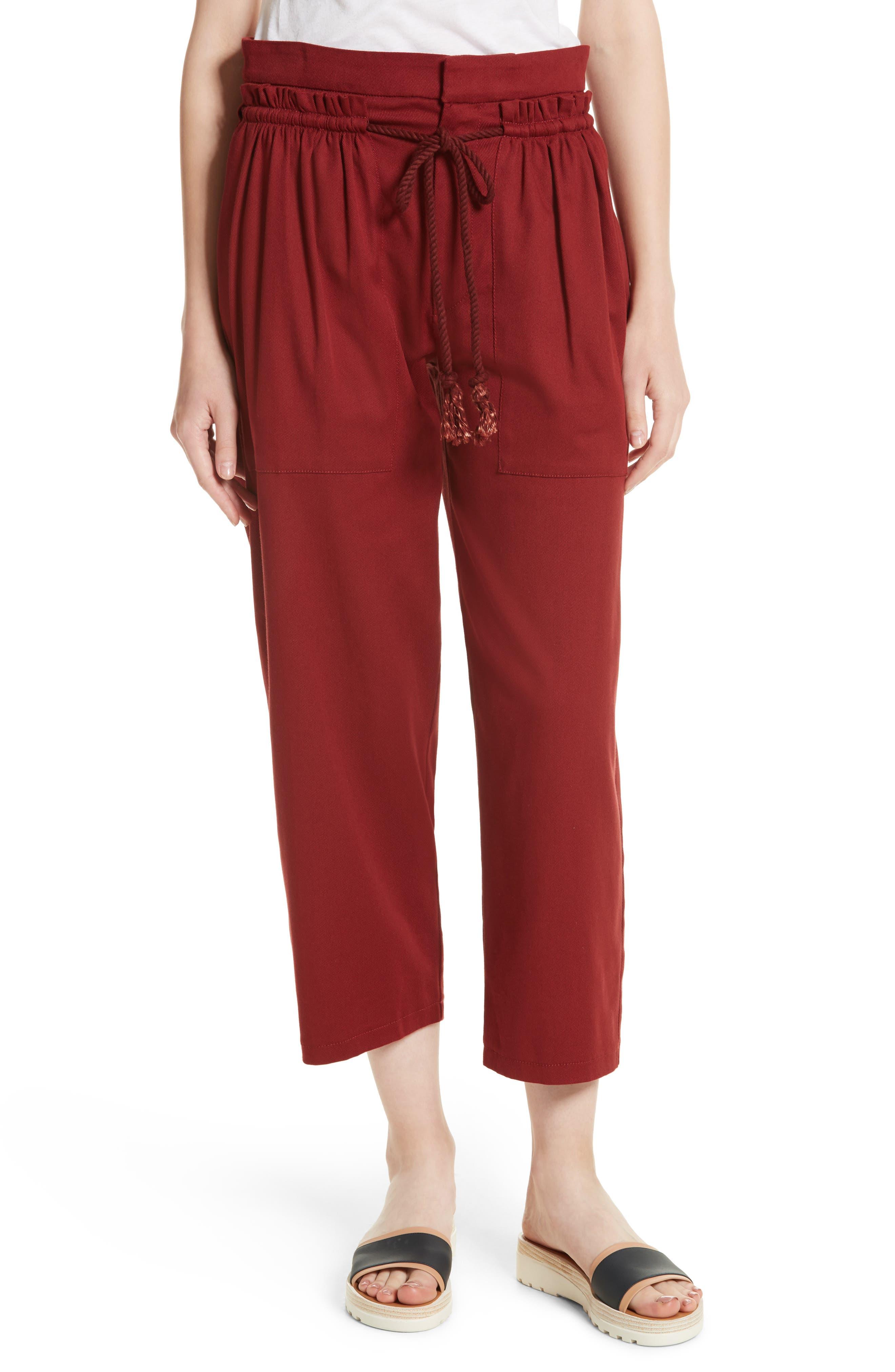 Ruffle Trim Drawstring Trousers,                         Main,                         color,
