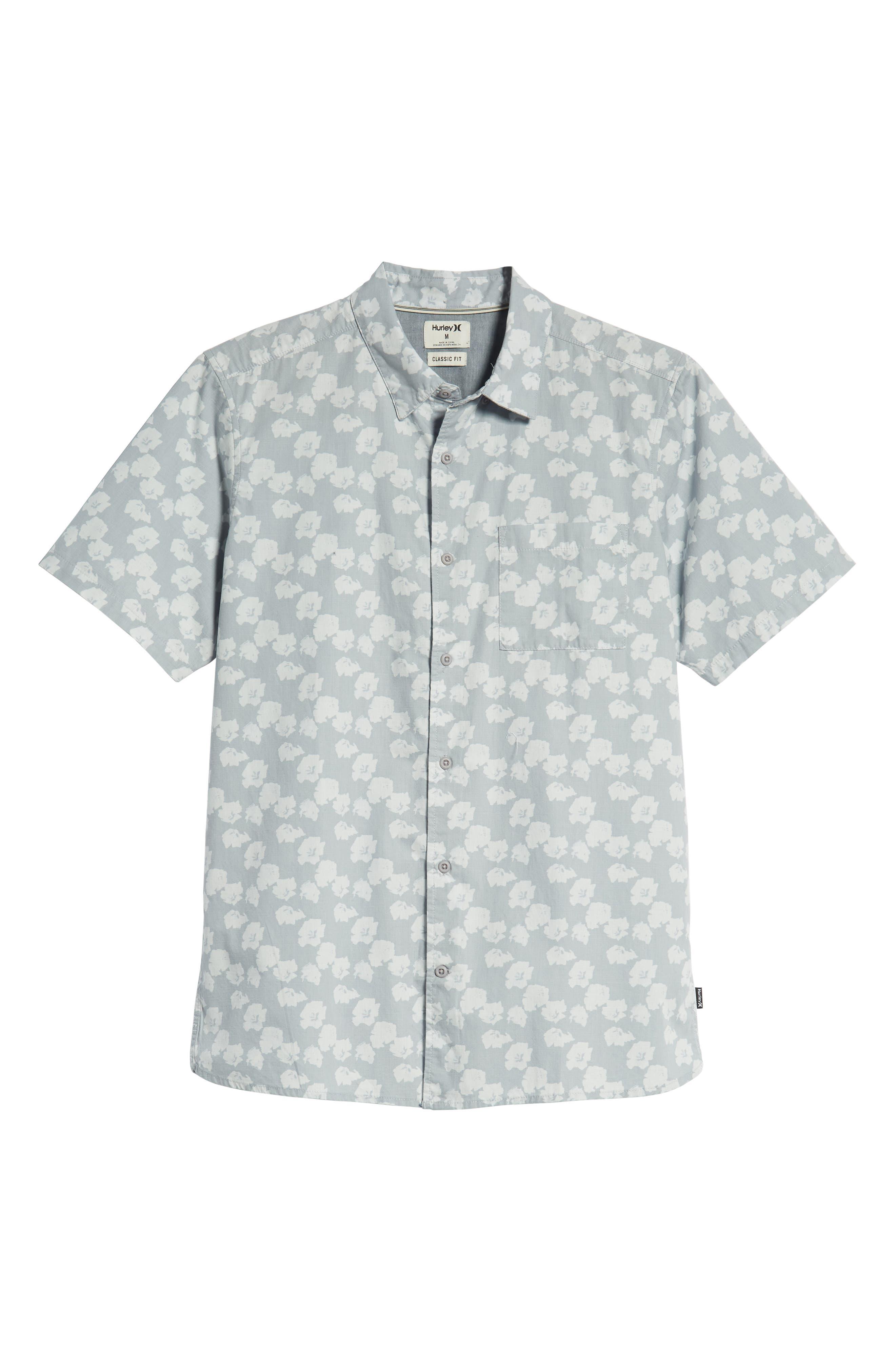 Beachside Swarm Print Woven Shirt,                             Alternate thumbnail 5, color,                             WOLF GREY