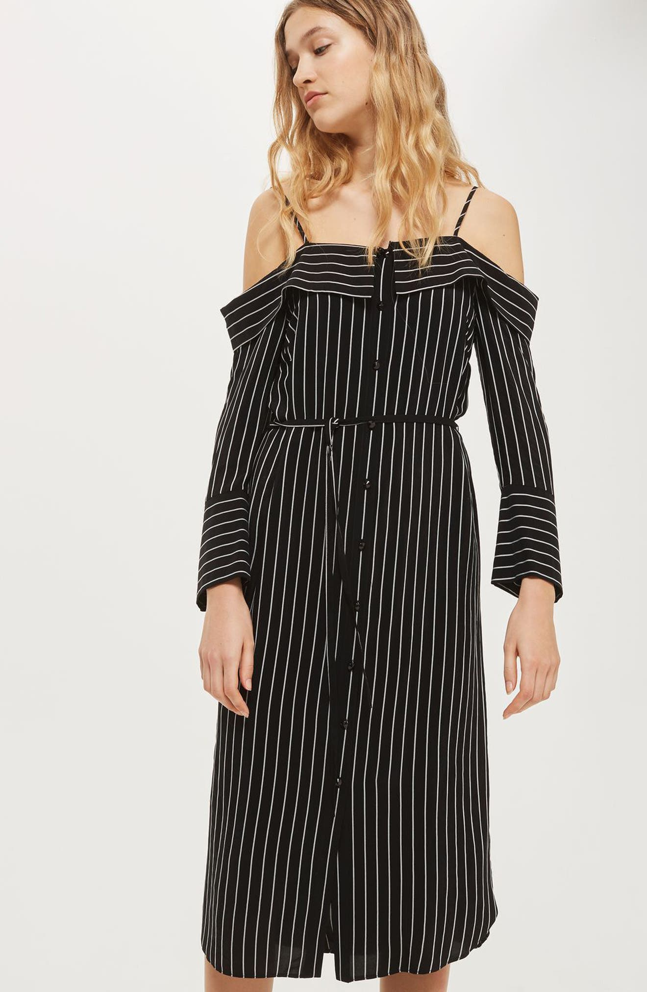 Pinstripe Midi Shirtdress,                             Alternate thumbnail 3, color,                             001