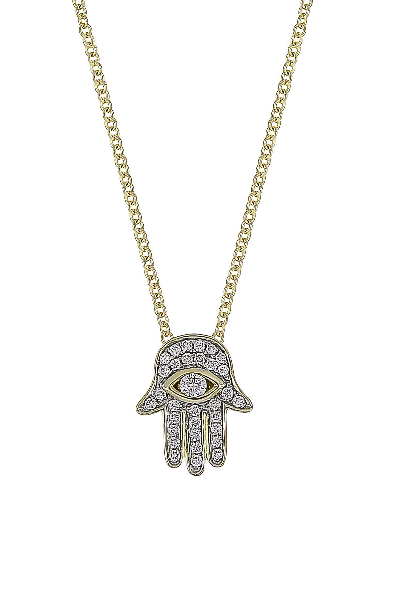 Hamsa Diamond Pendant Necklace,                             Main thumbnail 1, color,                             710