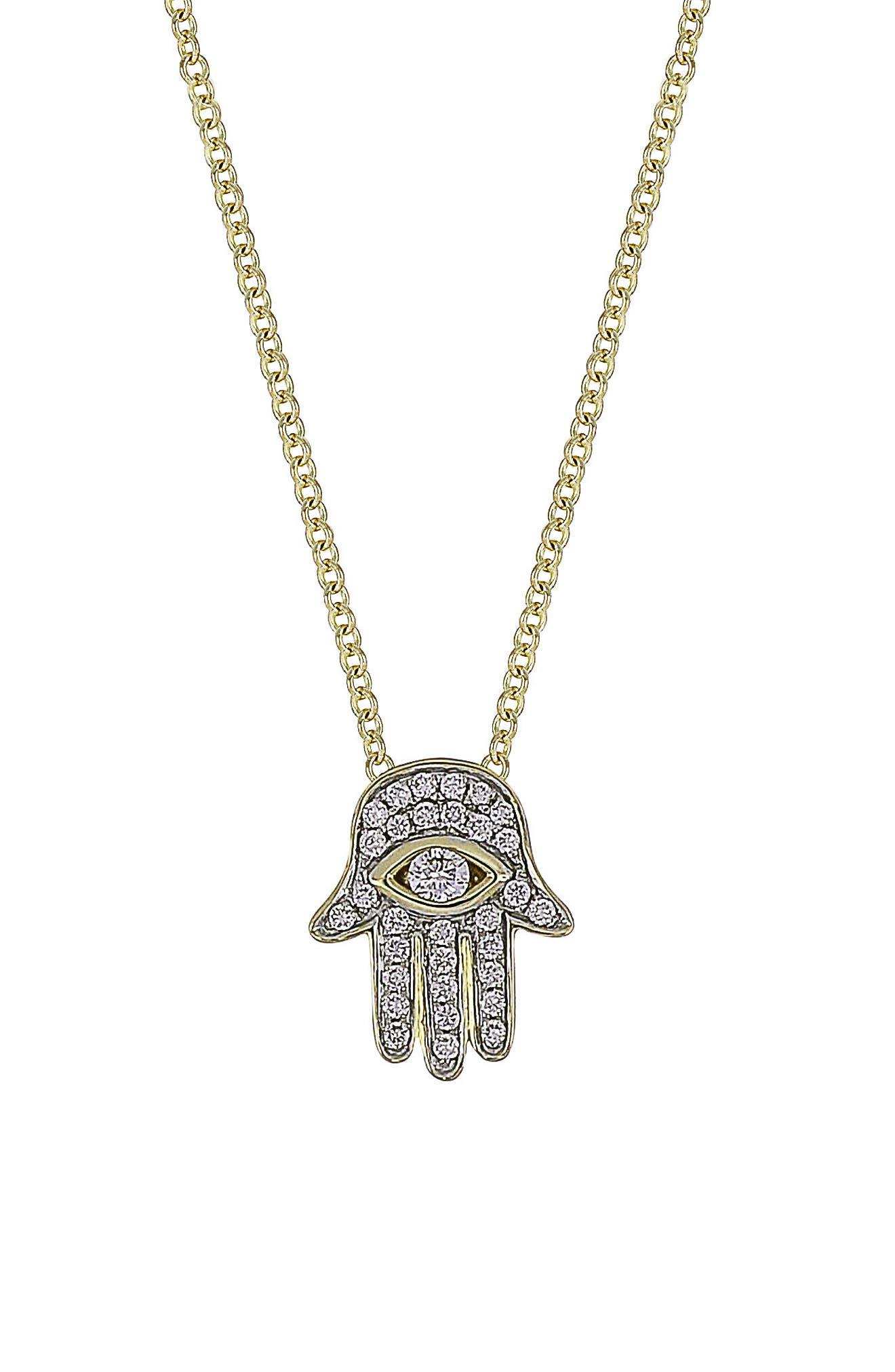 Hamsa Diamond Pendant Necklace,                         Main,                         color, 710
